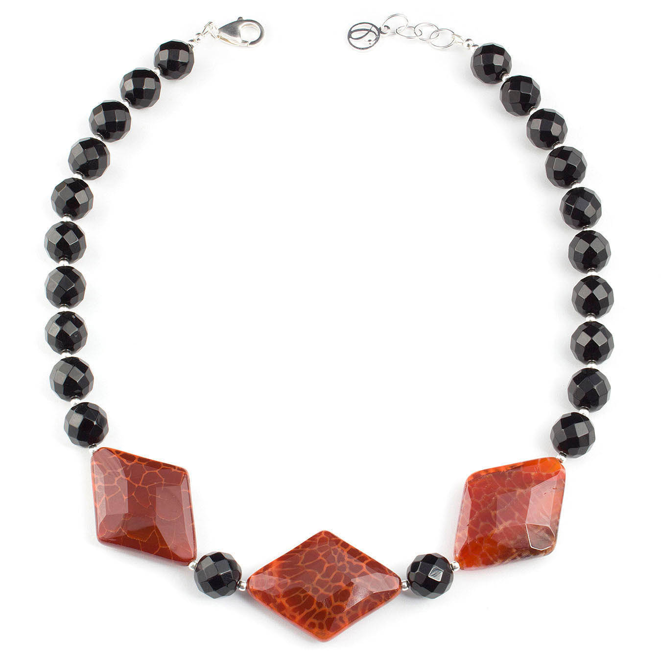 Collar necklace set made with faceted black and red fire agate stones