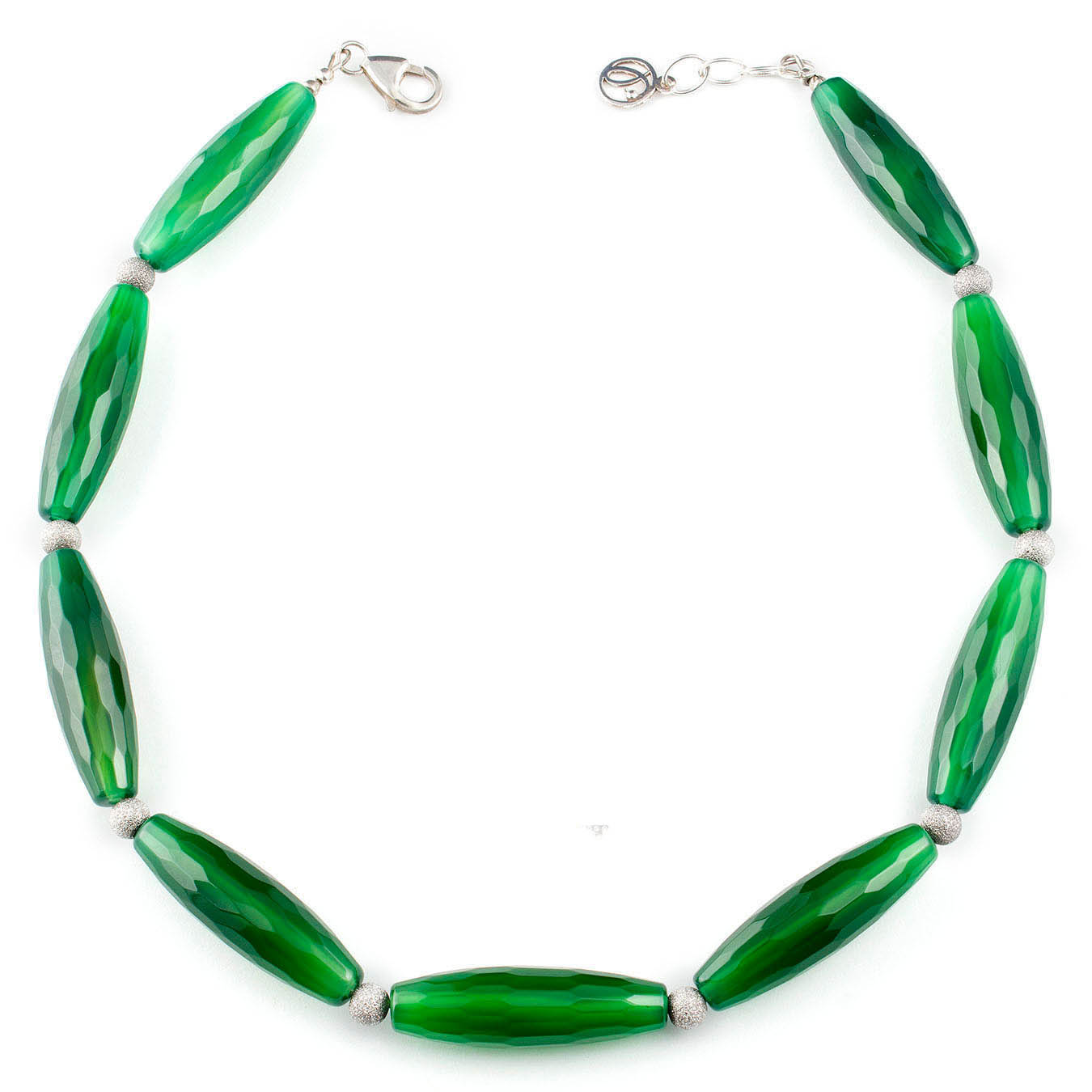 Statement necklace set made with green agate and 925 silver beads