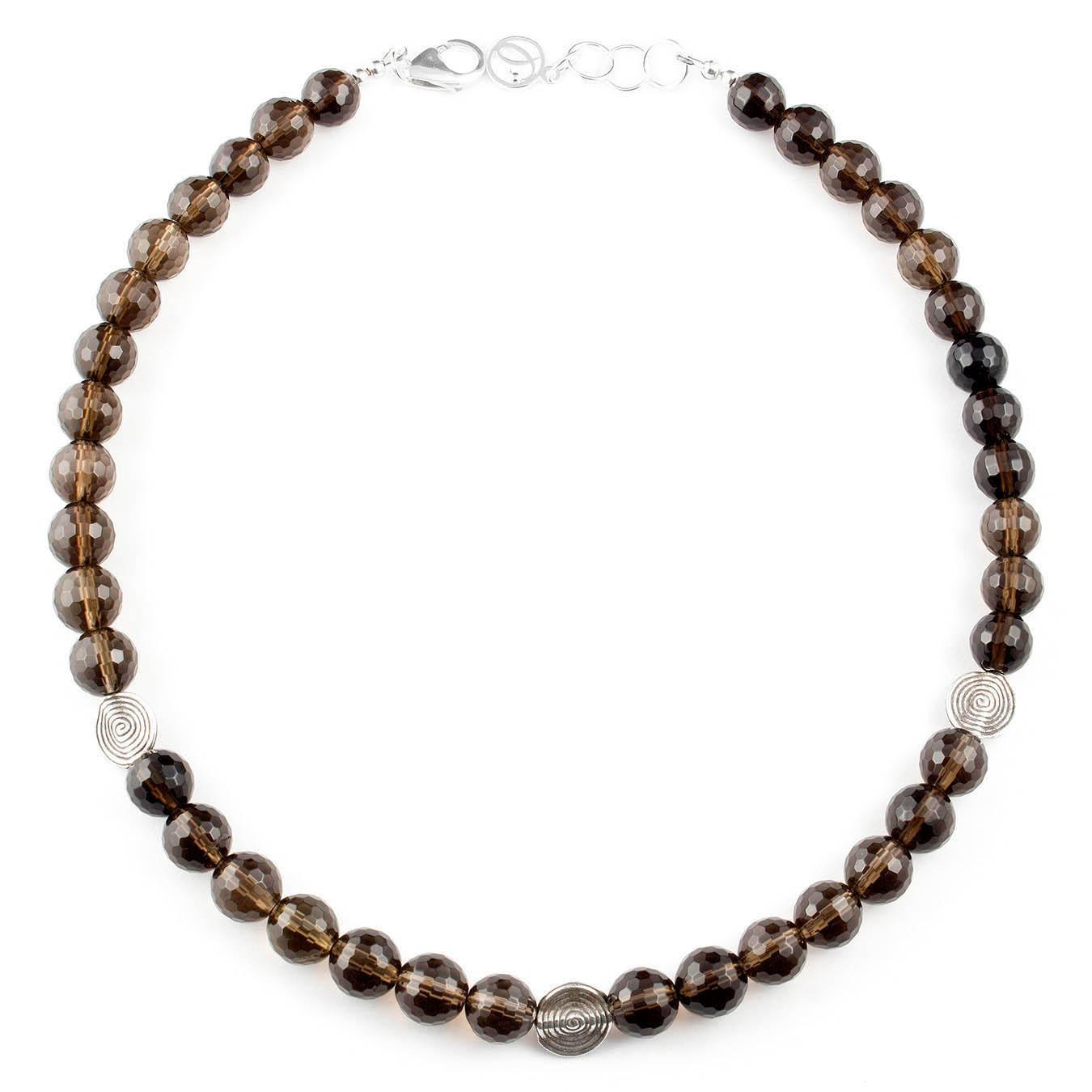 Station necklace set made of smoky quartz and karen hill tribe silver