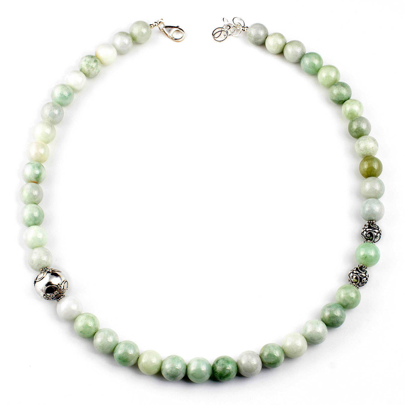 Handcrafted necklace made with Burma Jade stones and Bali silver