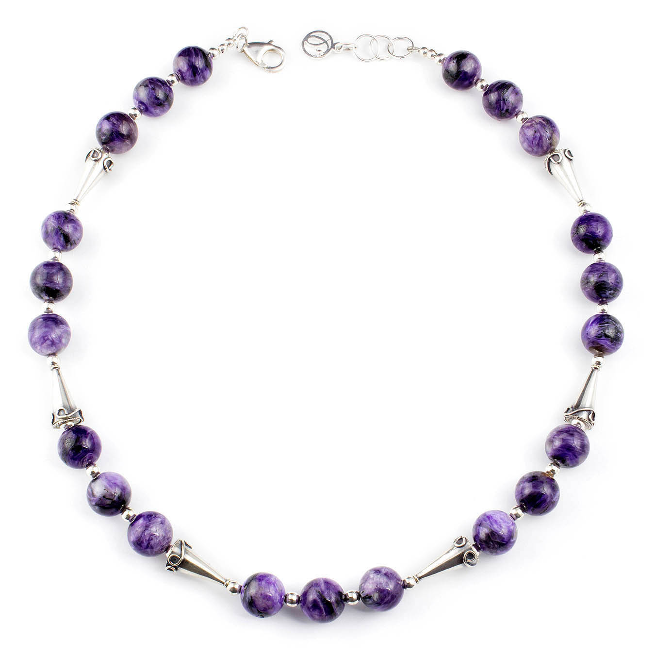 Stone beaded jewelry necklace made with purple charoite and silver