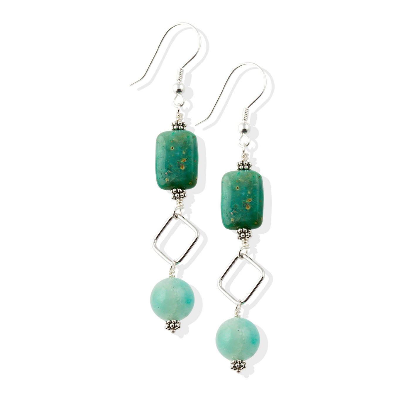 Handmade 925 wire pendant jewelry made of amazonite and chrysocolla