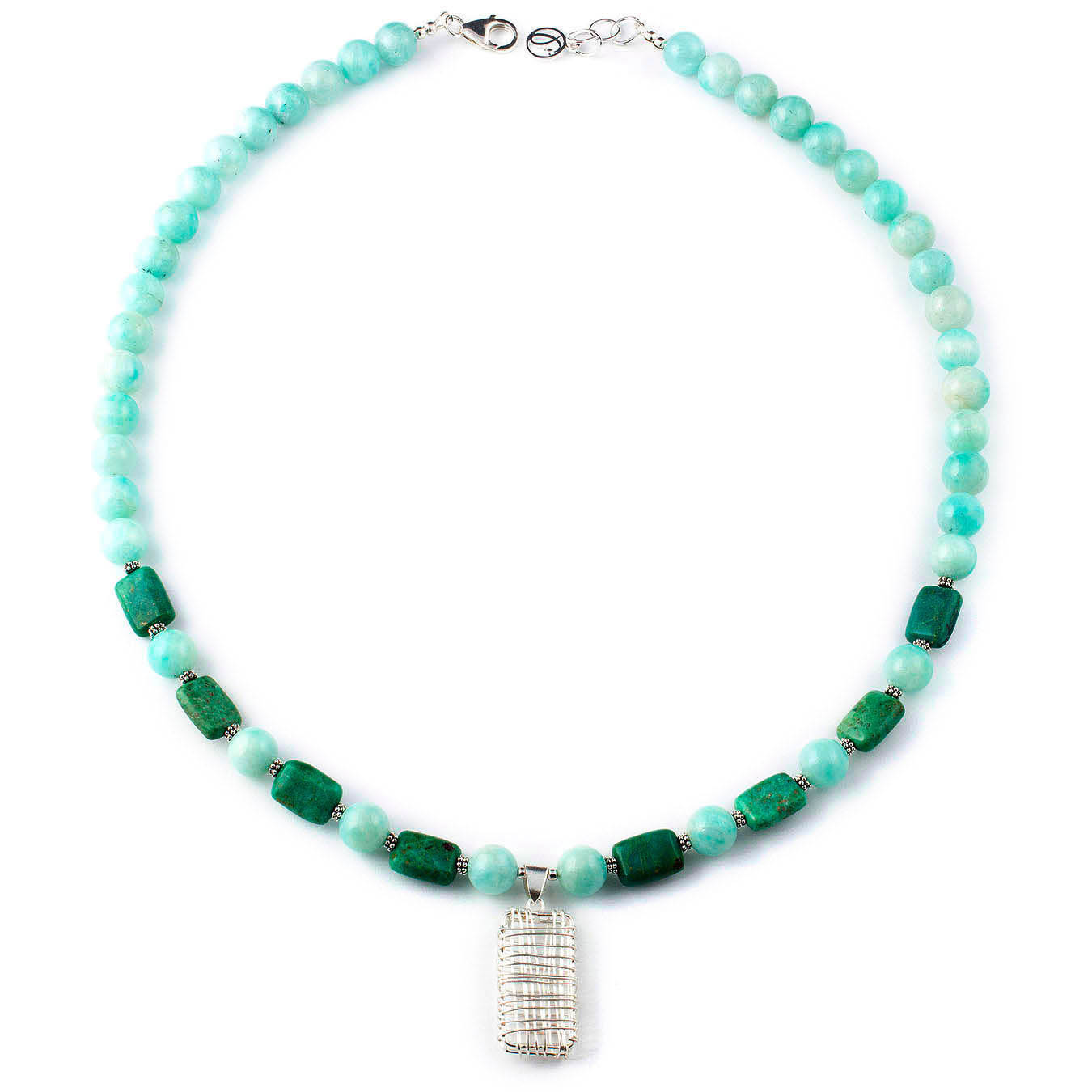 Handcrafted green chrysocolla and blue amazonite stone necklace