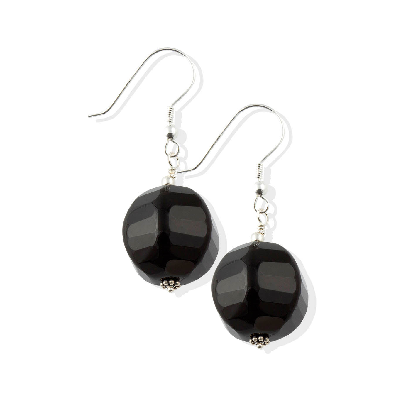 Handcrafted chunky bead jewelry made of faceted black agate and silver