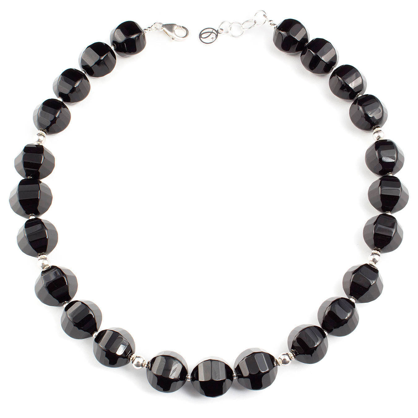 Beaded jewelry necklace made with semi-precious black agate and 925