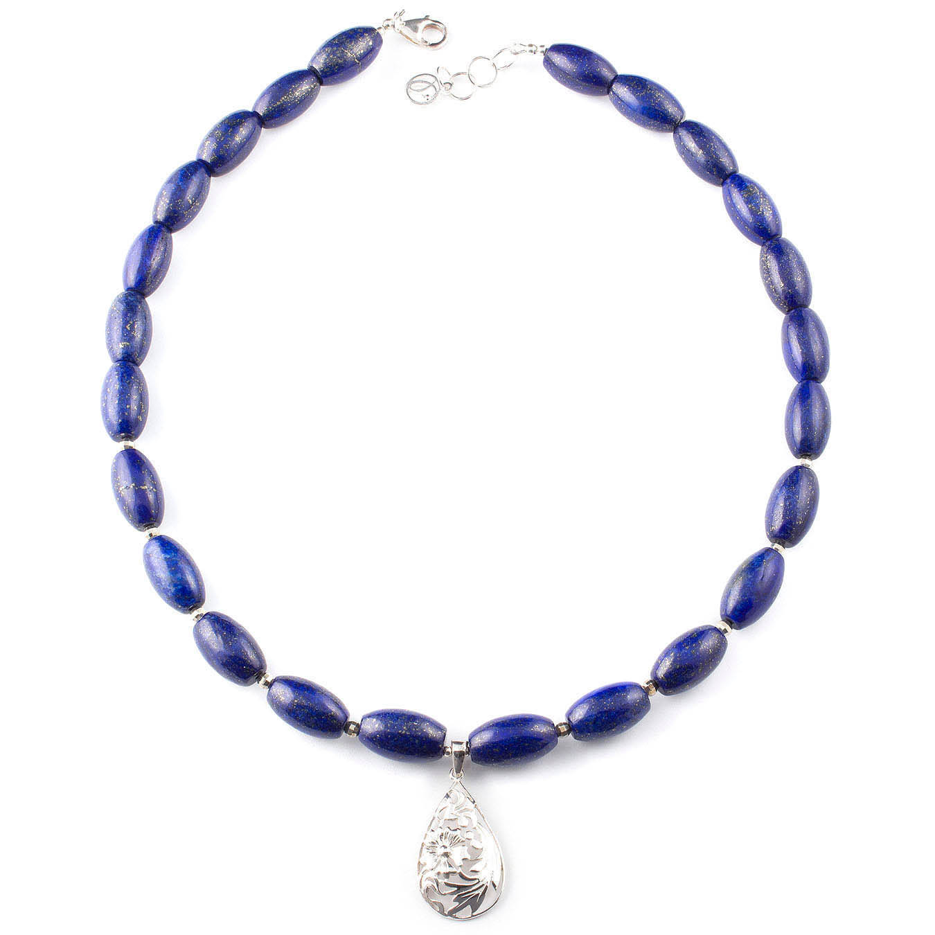 Handmade jewelry necklace made of lapis and teardrop silver pendant