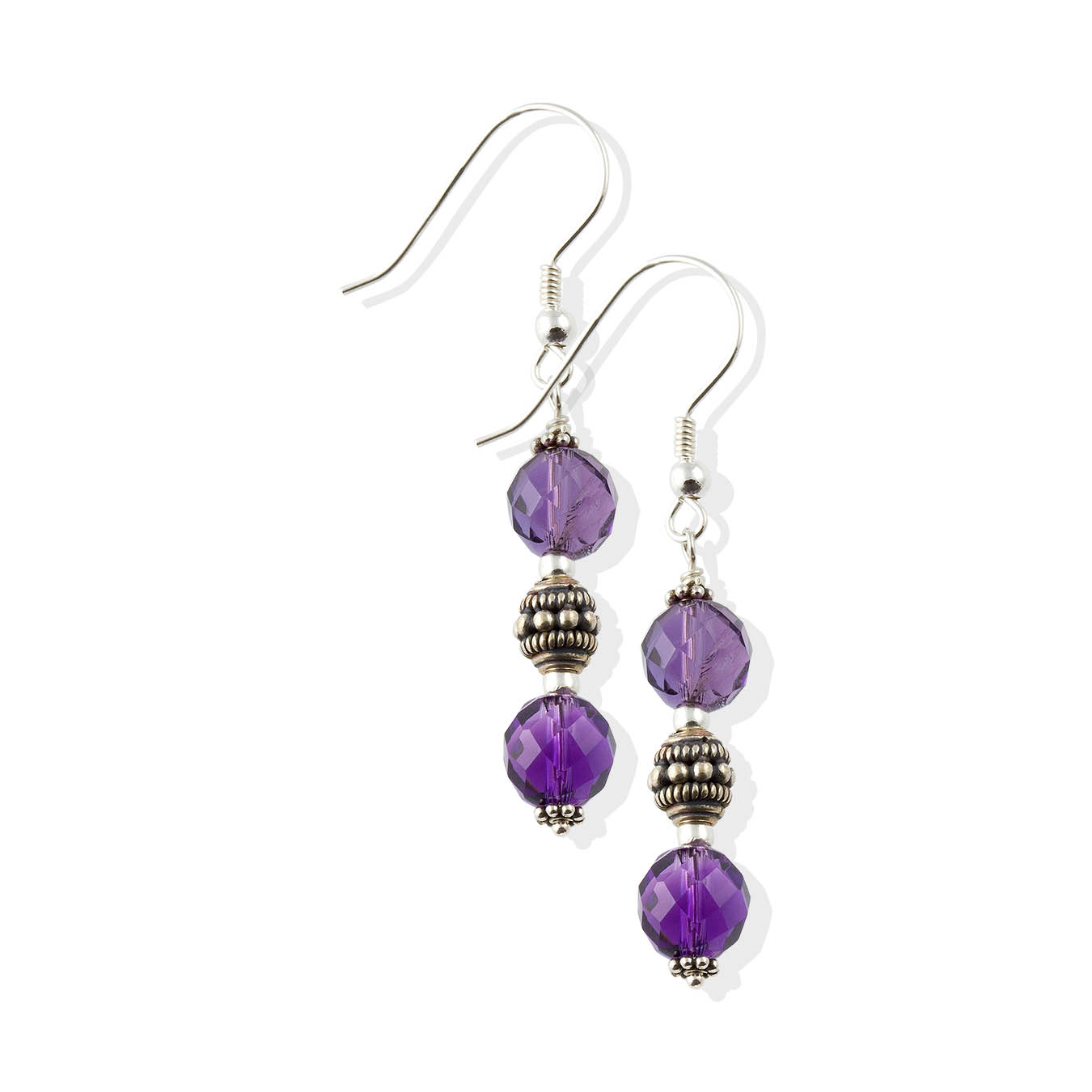 Handcrafted february birthstone bead jewelry made of faceted amethyst