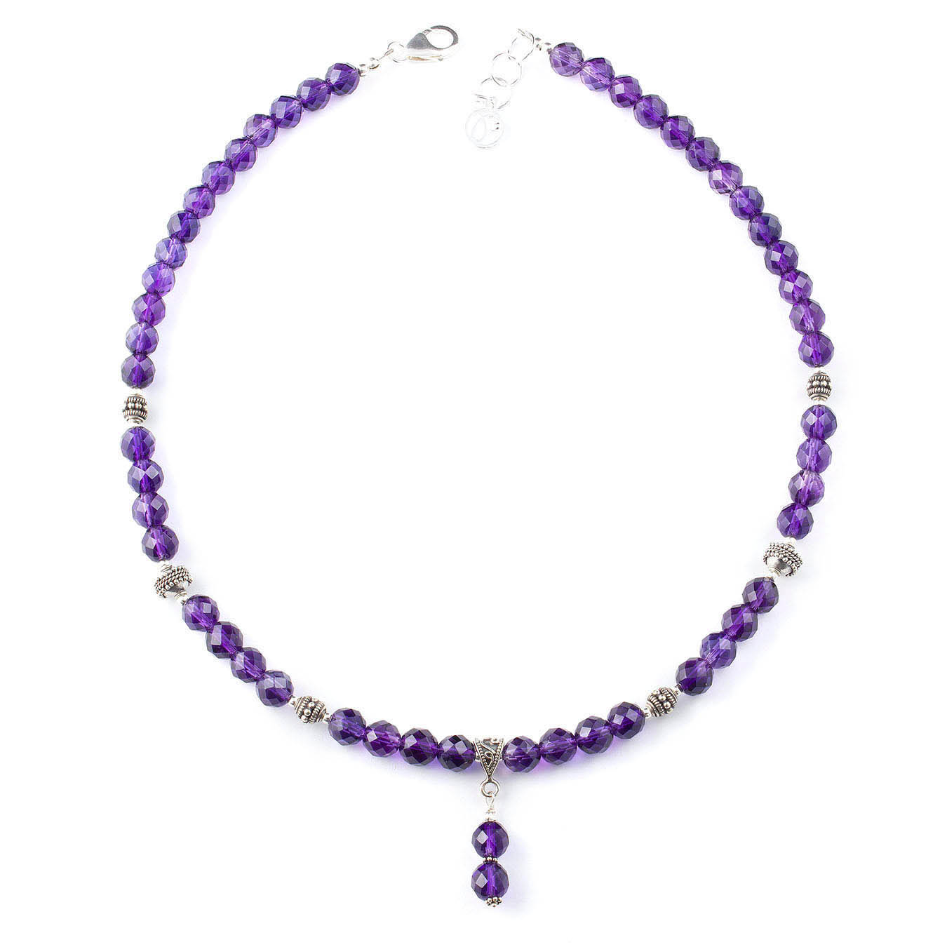 Amethyst and bali silver beaded jewelry birthstone necklace set