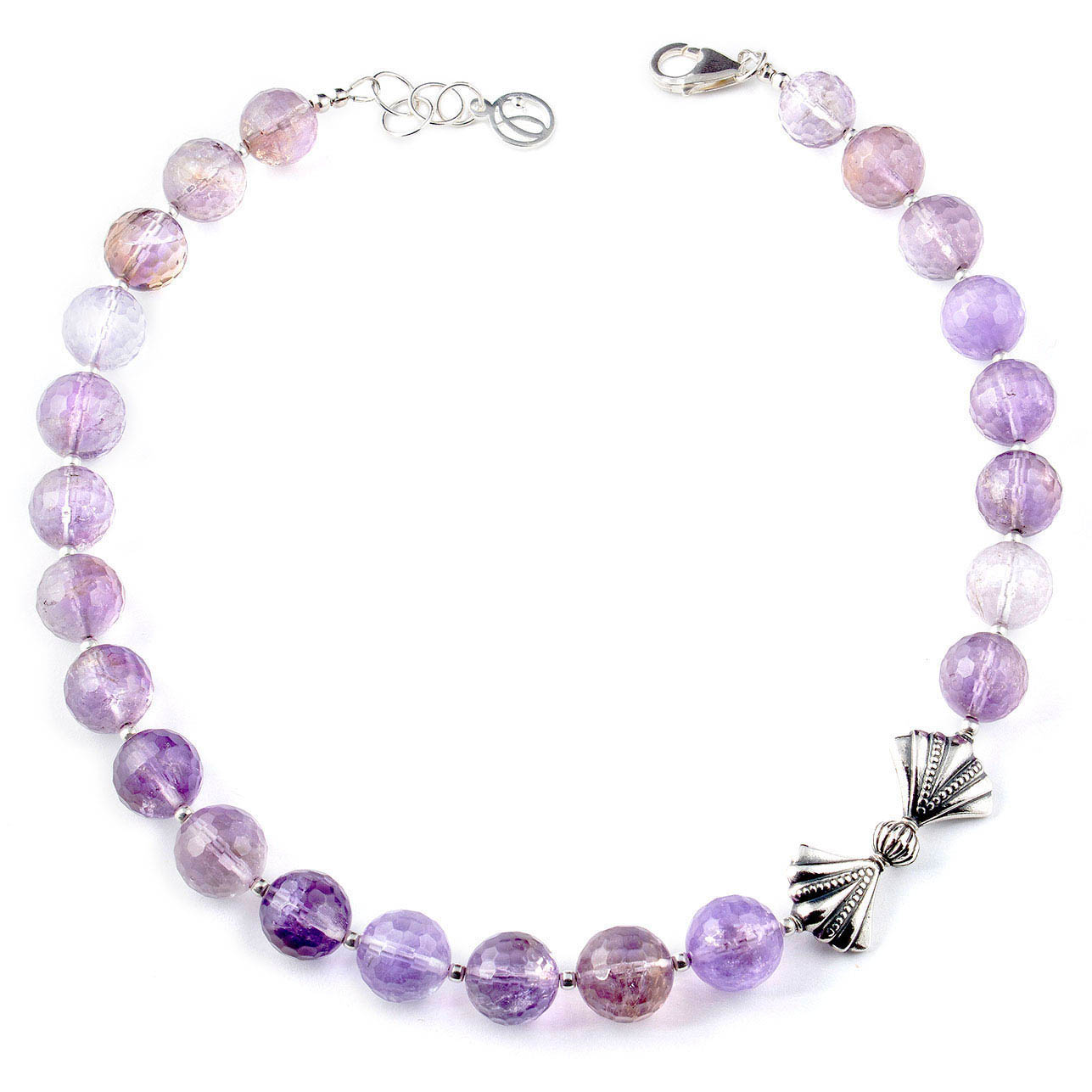 Handcrafted choker style bead jewelry made of ametrine and bali silver