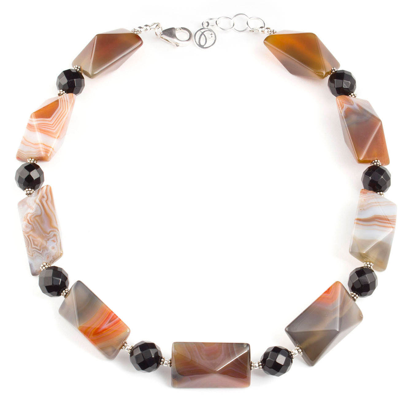 Handcrafted bold bead jewelry made of chunky botswana agate and silver