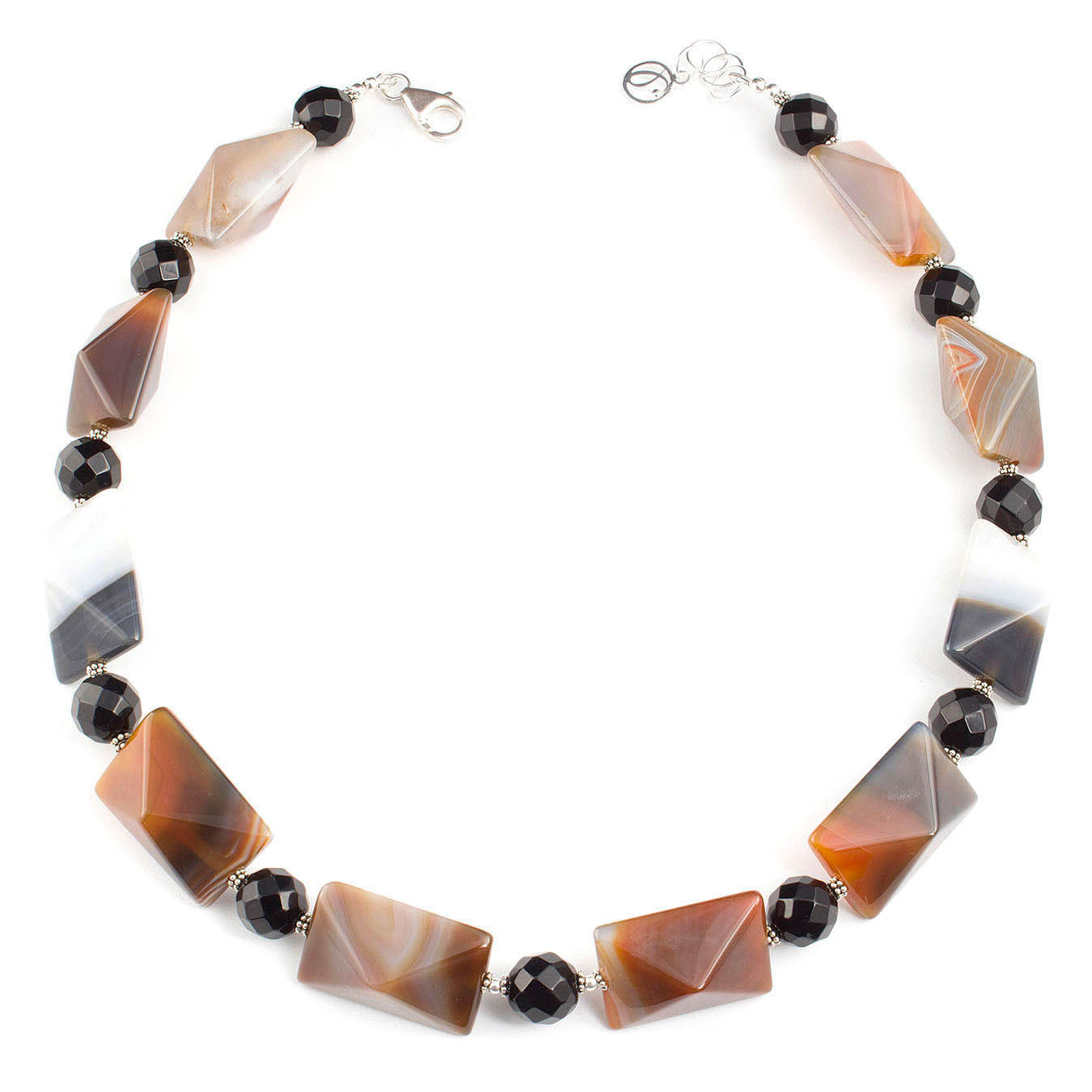 Semi-precious beaded jewelry necklace made of Botswana and black agate