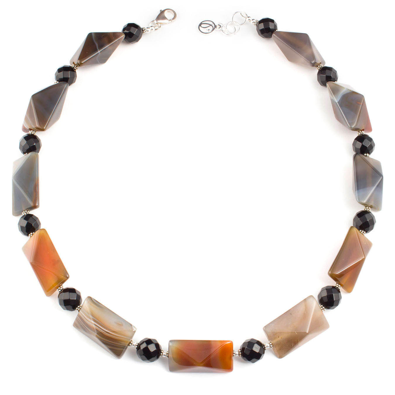 Handmade statement jewelry necklace made of Botswana and black agate