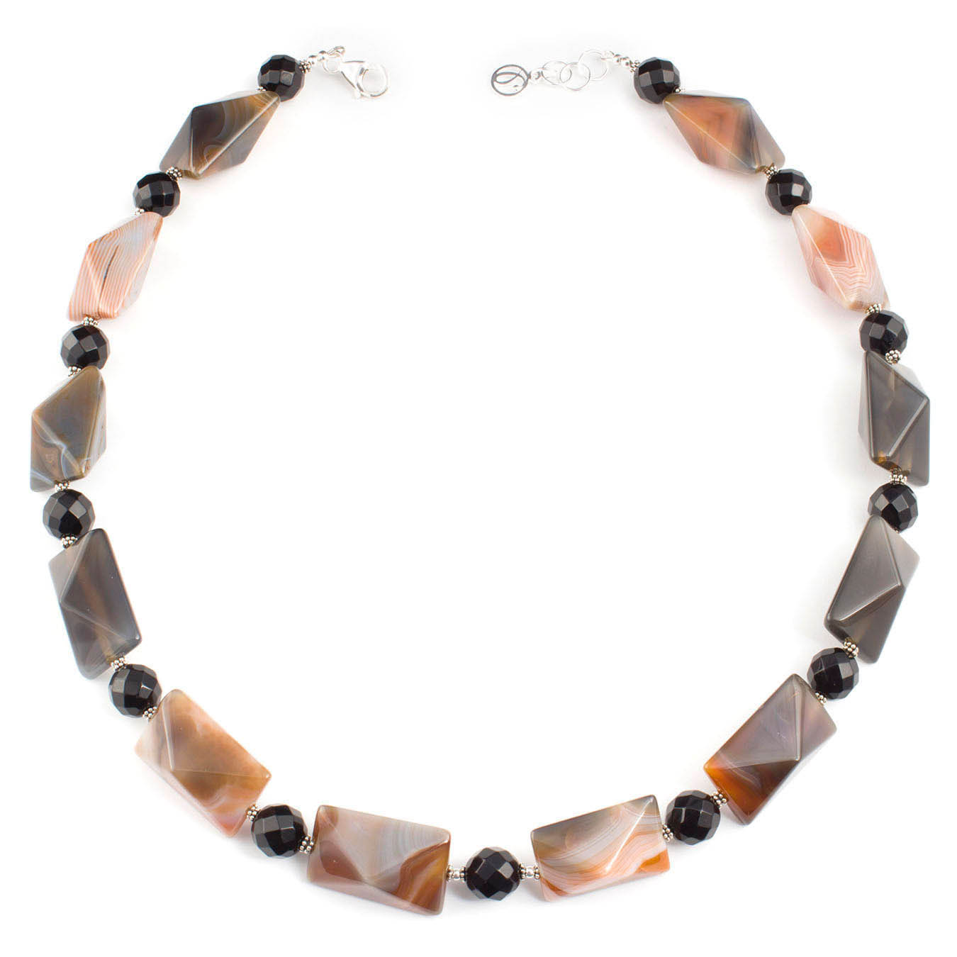 Bold Botswana and black agate handcrafted necklace with silver accents