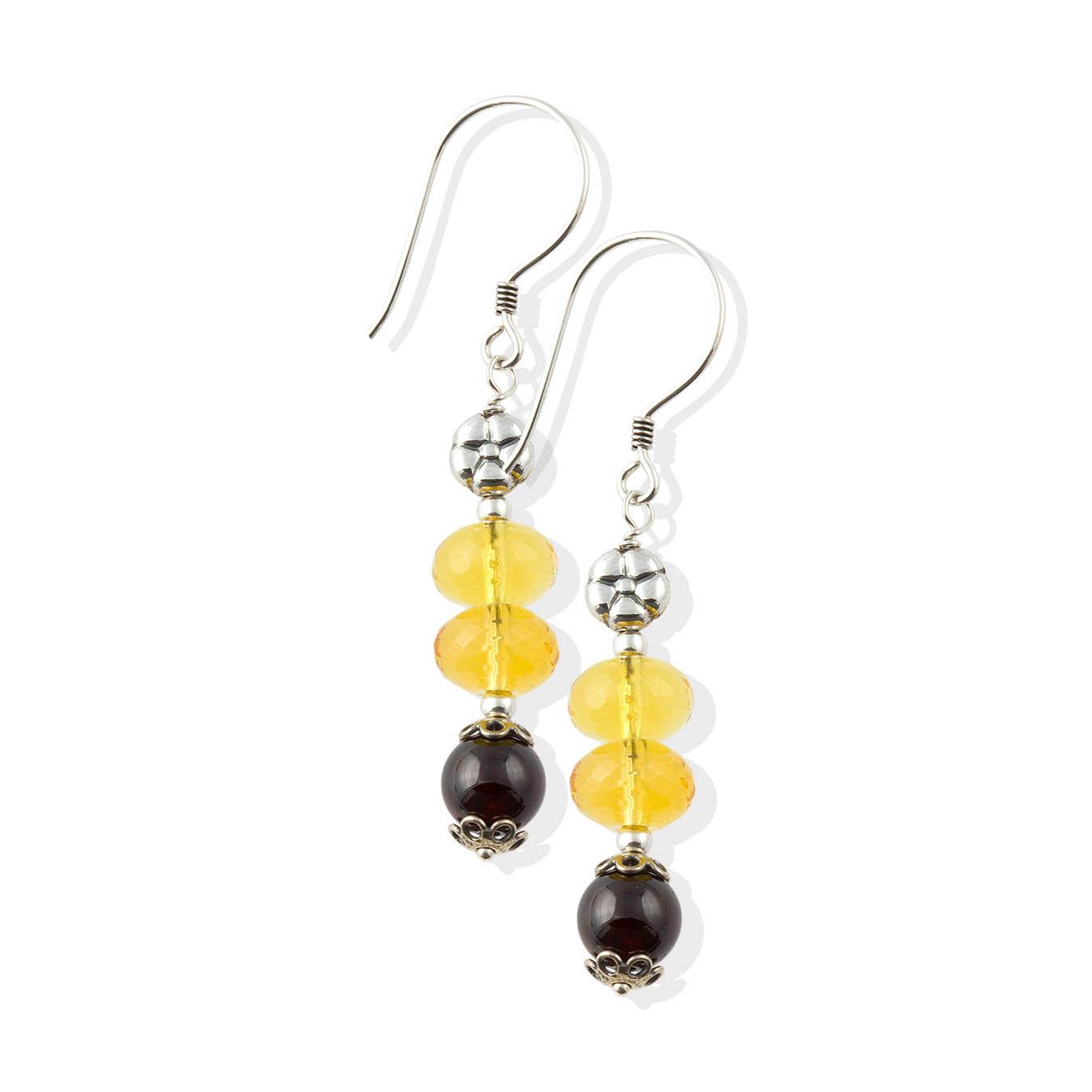 Handcrafted citrine, garnet and bali charm birthstone bead jewelry