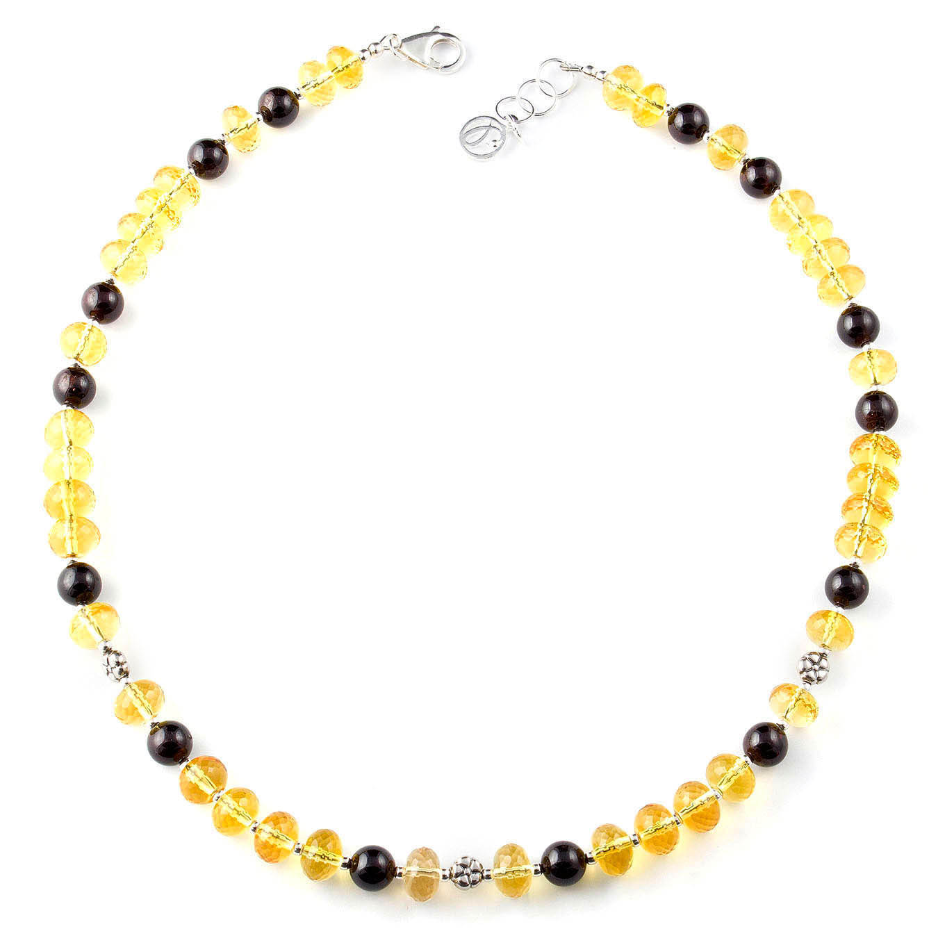 Artisan beaded birthstone necklace made of citrine, garnet and bali