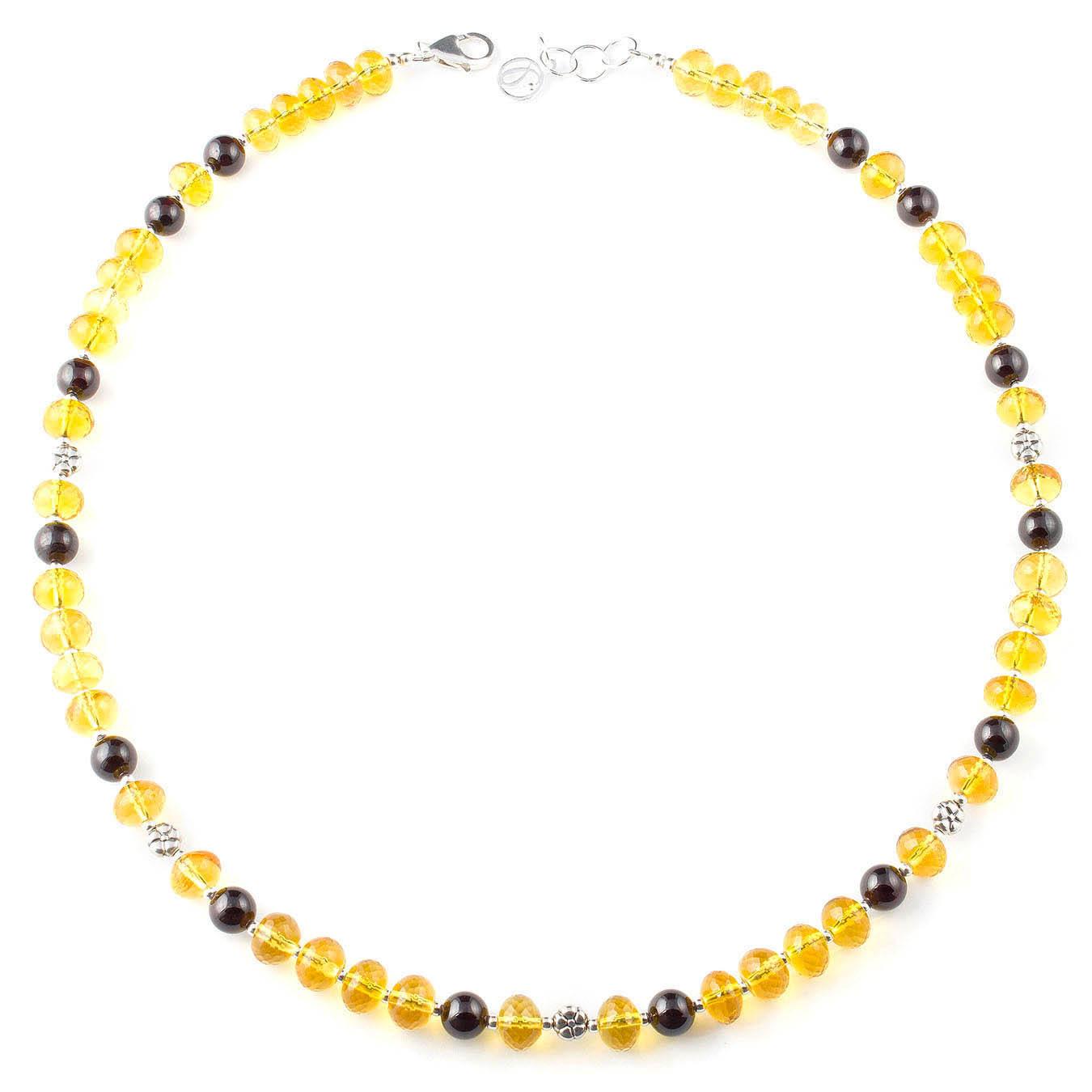 Handcrafted multi-gemstone citrine and garnet birthstone necklace