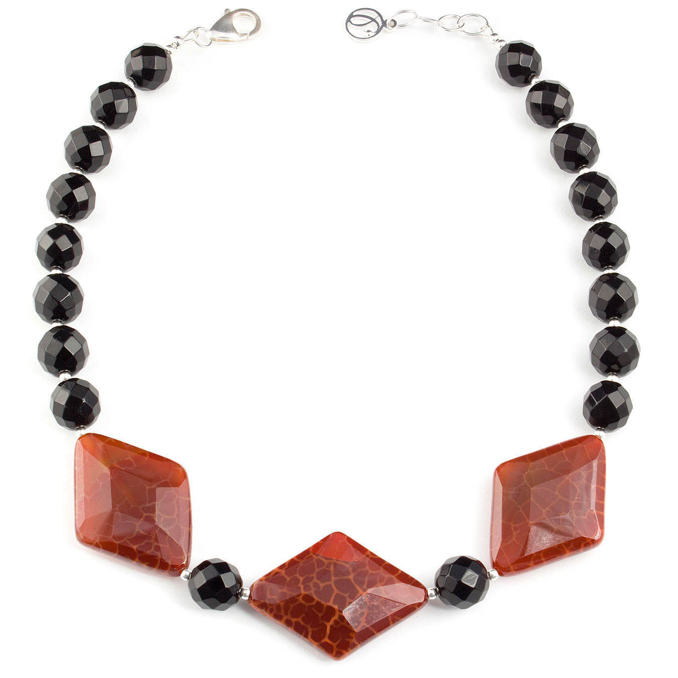 Handcrafted collar bead jewelry made with faceted black and fire agate
