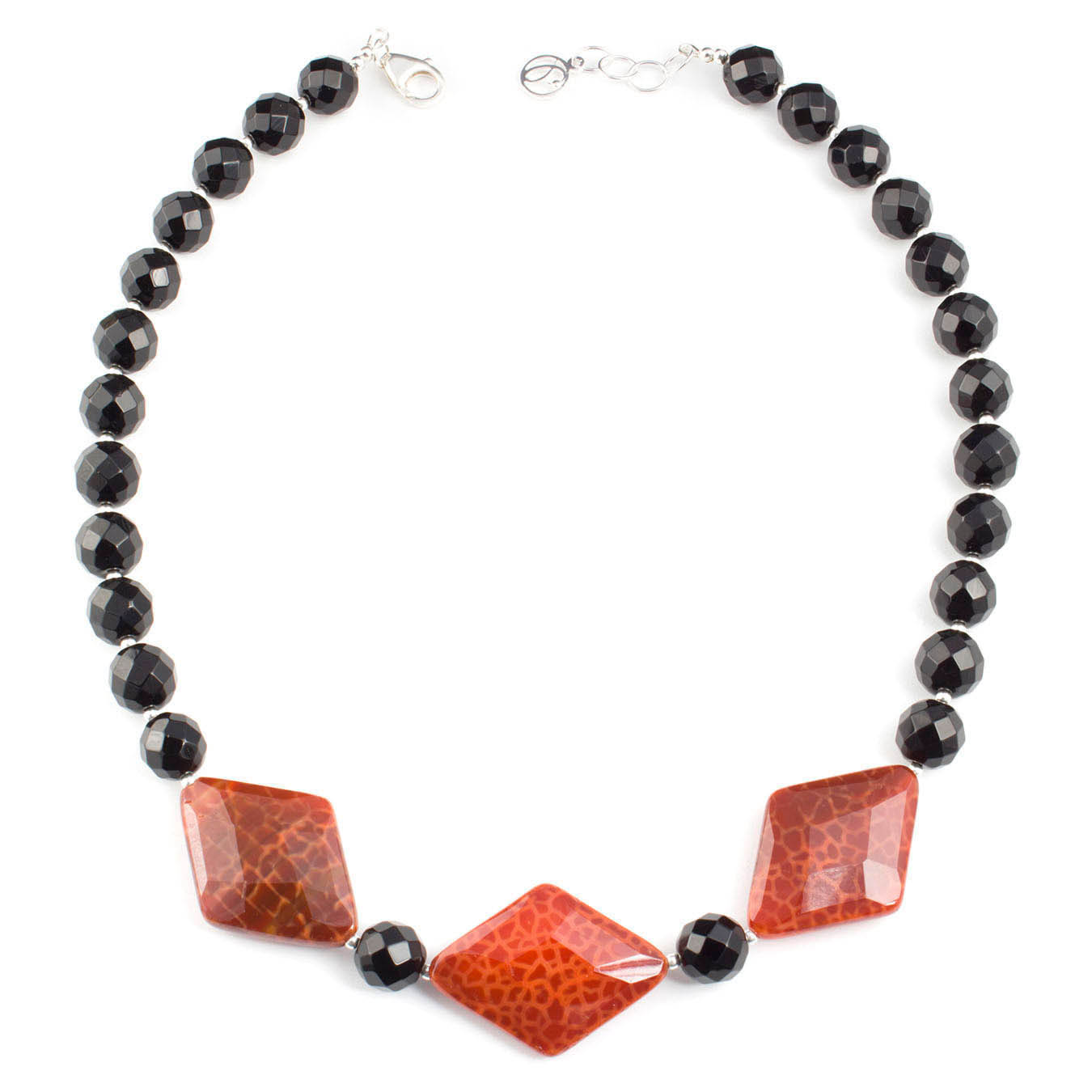 Beaded jewelry collar necklace made with black and red fire agate