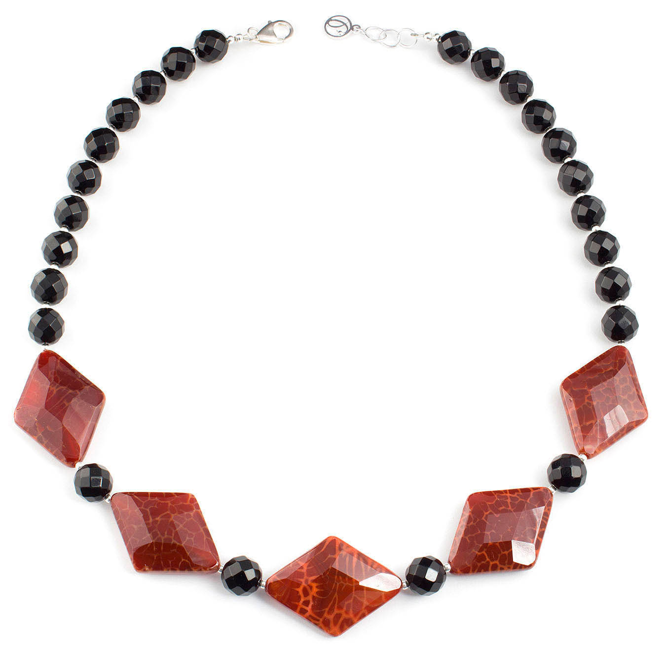 Artisan collar jewelry necklace made of red fire agate gemstone