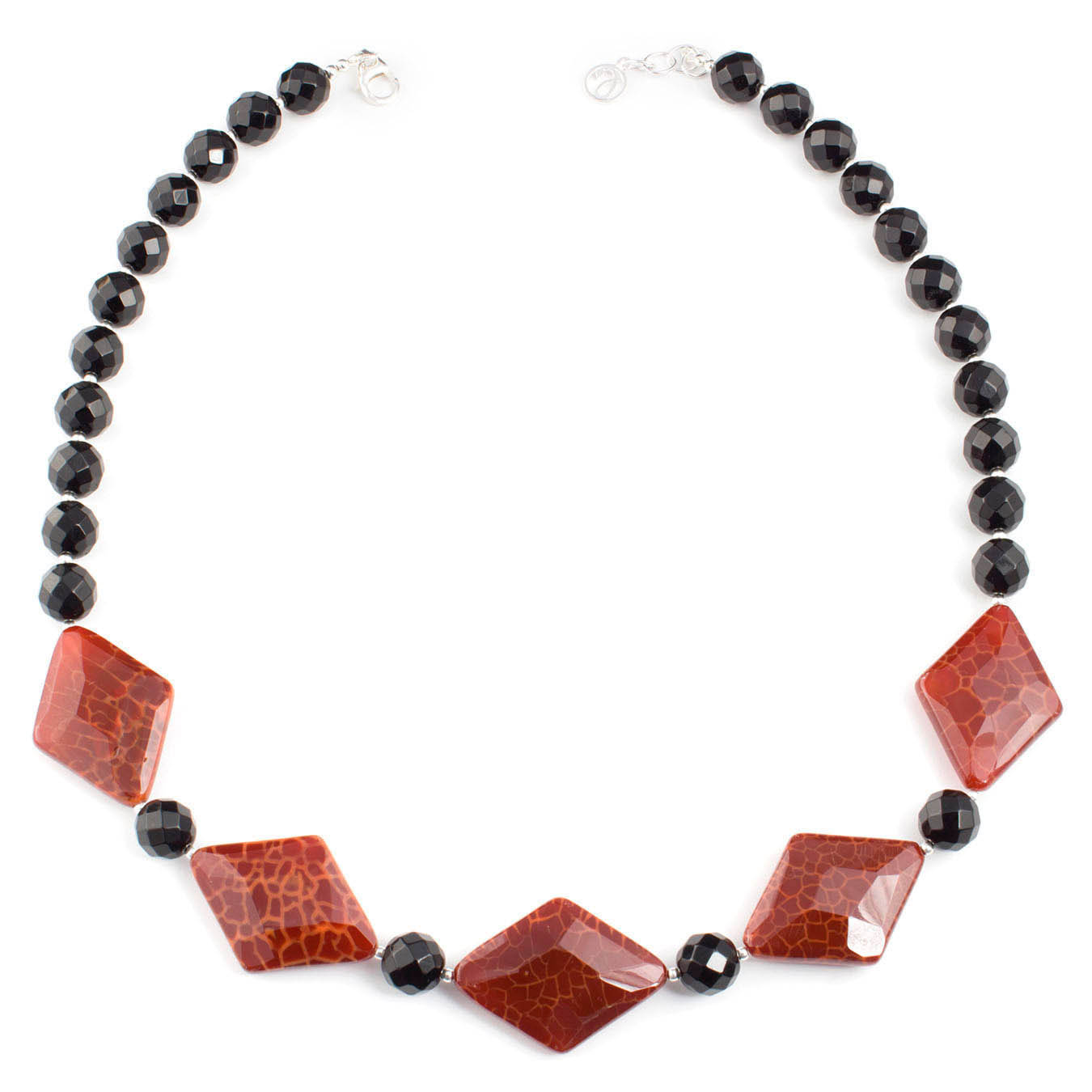 Semi-precious gemstone handcrafted necklace made with red fire agate