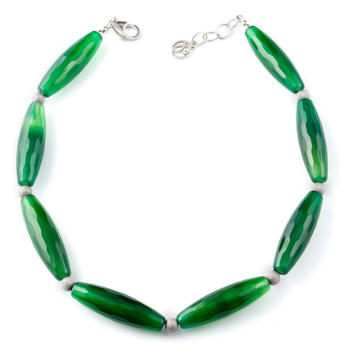 Handcrafted statement bead jewelry made of green agate and silver