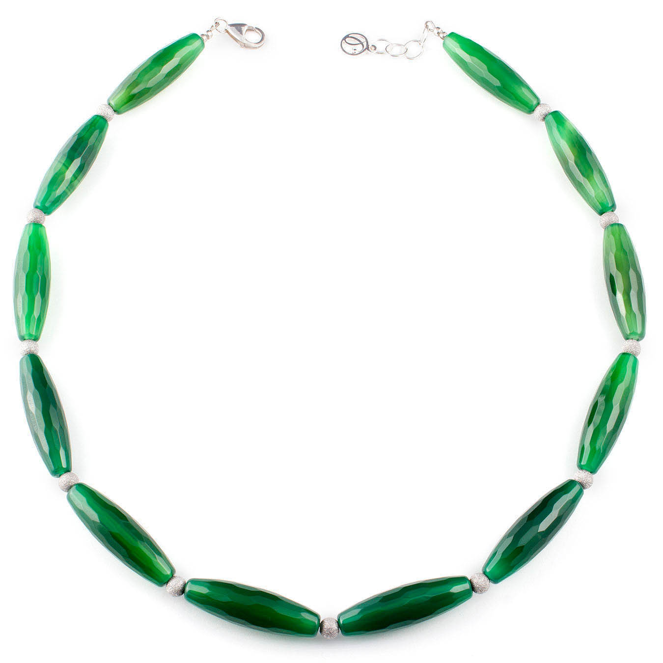 Handcrafted statement green agate necklace with 925 silver beads