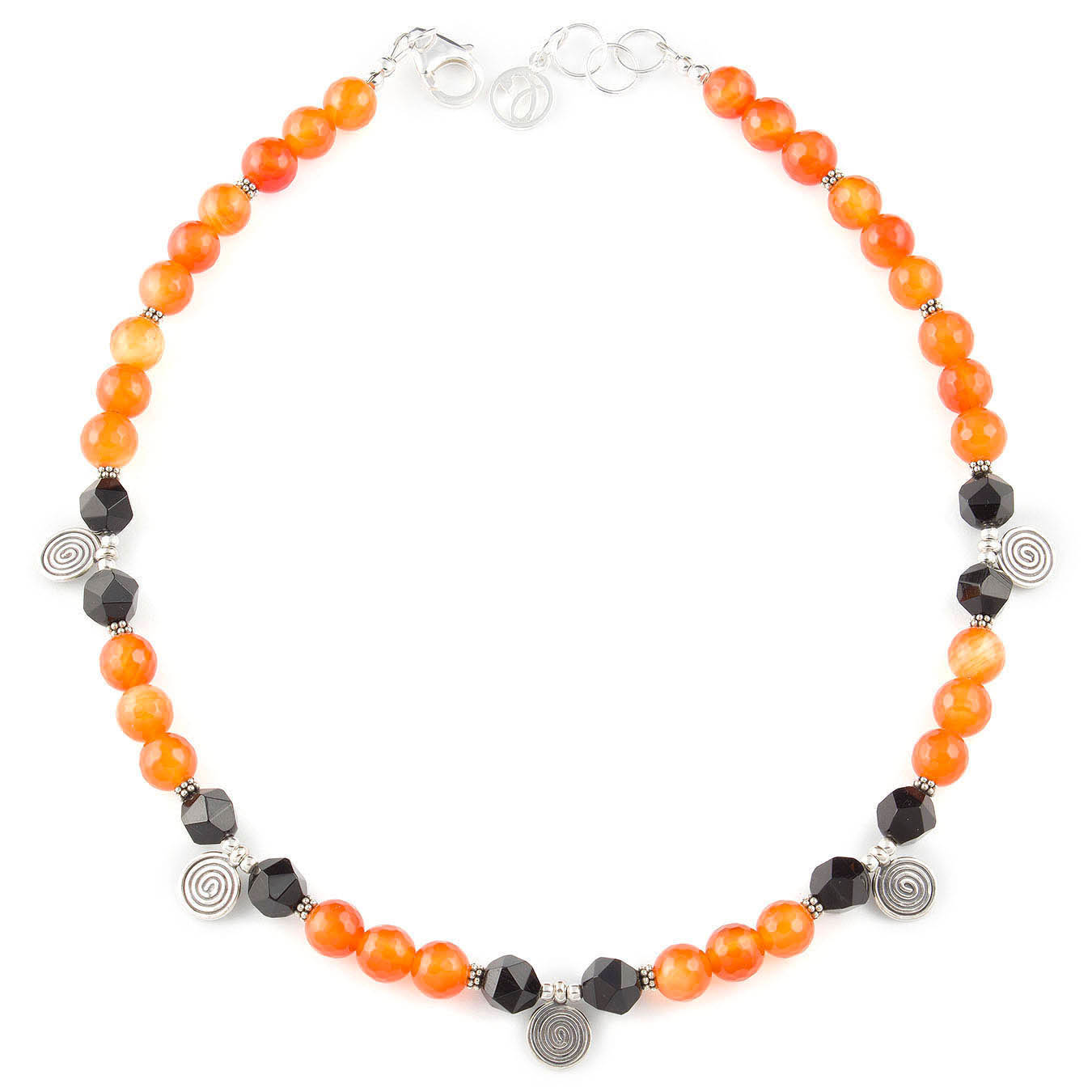 Handcrafted charm bead jewelry made with faceted black and red agate