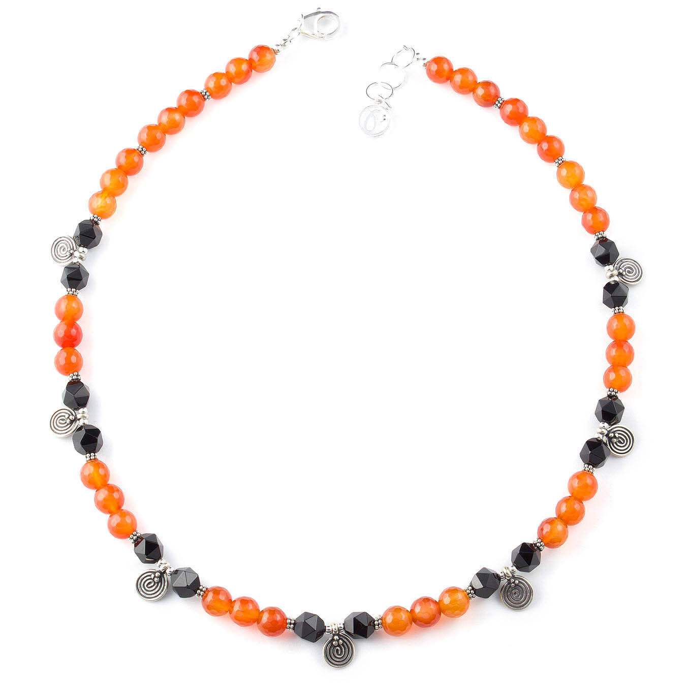 Black and red agate semi-precious gemstones beaded bali charm necklace