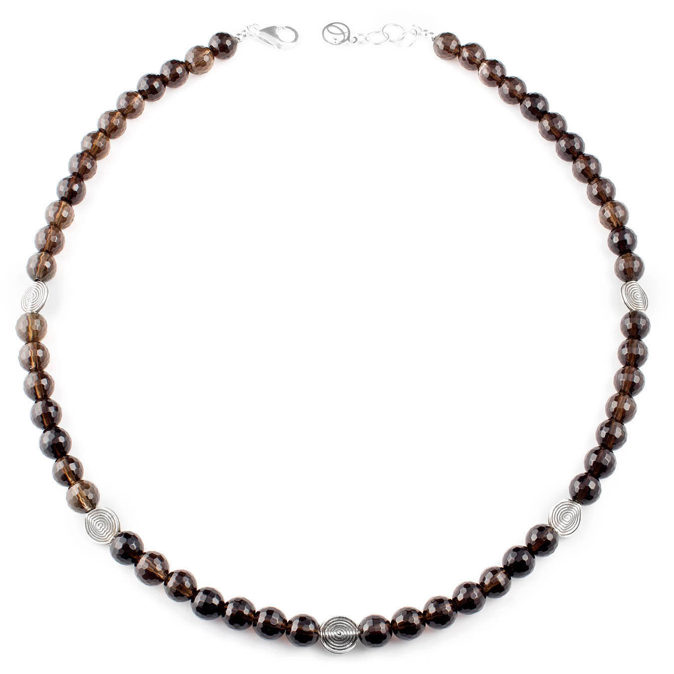 Handcrafted station bead necklace made of smoky quartz and thai silver