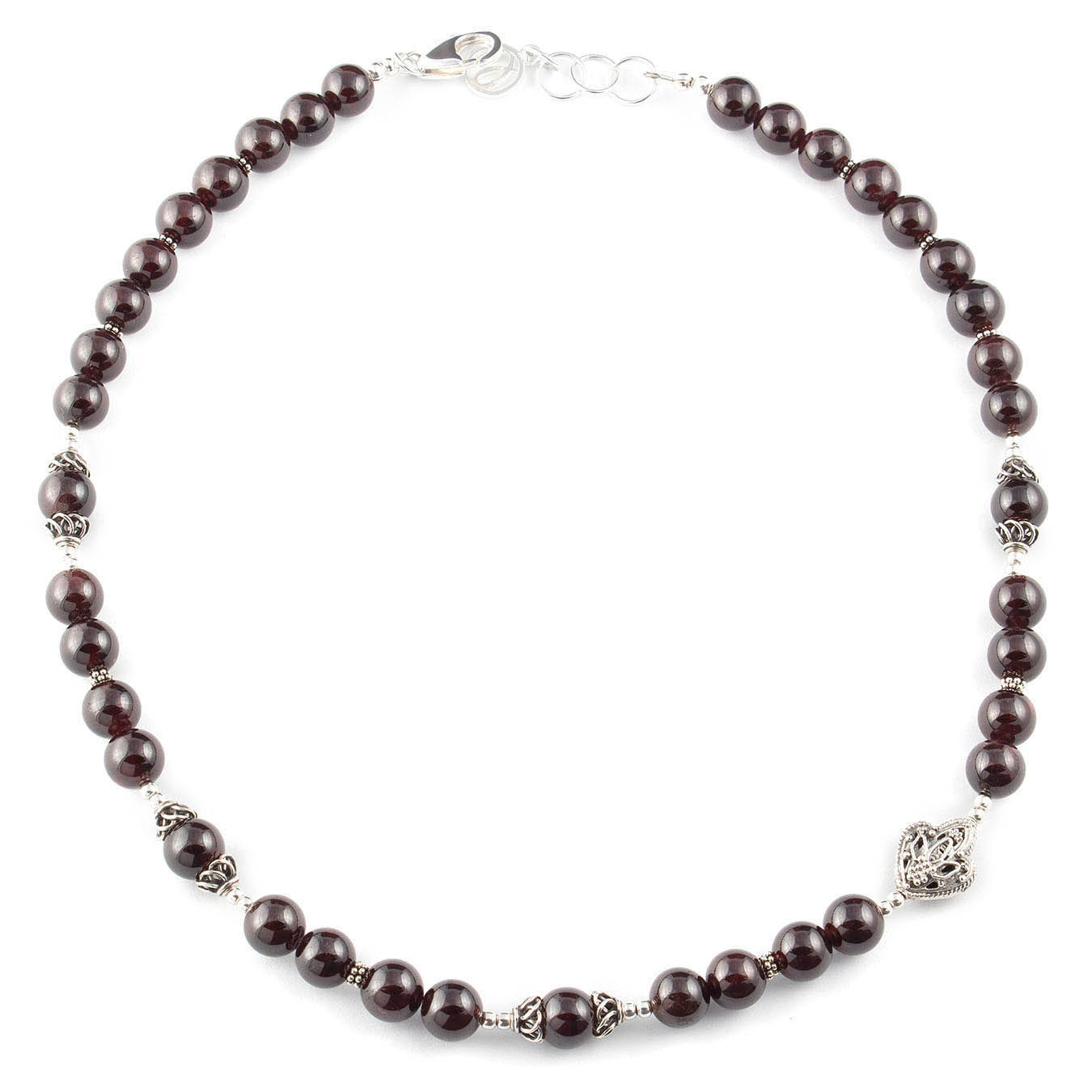 January birthstone necklace set made with garnet and bali silver