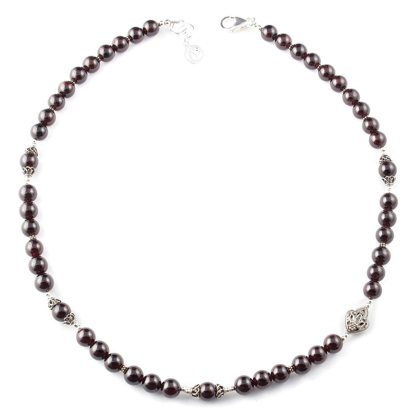 Handmade January birthstone jewelry necklace made of garnet and silver