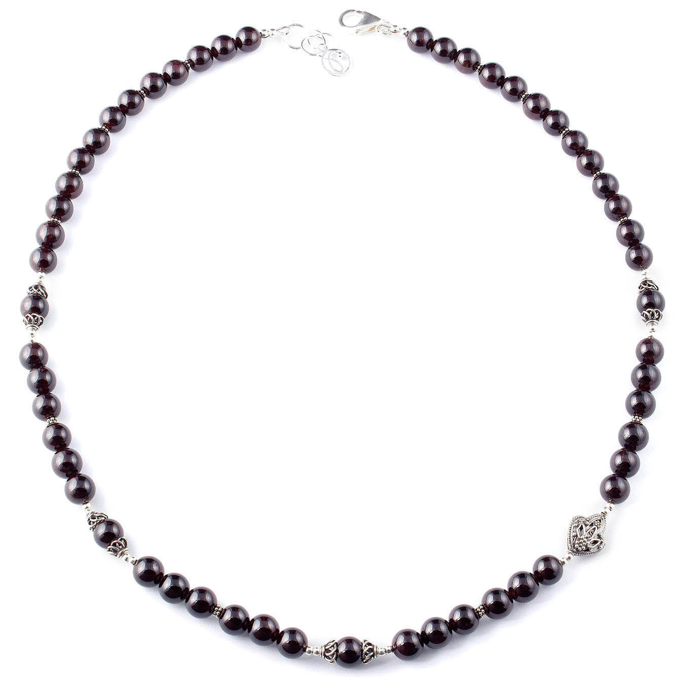 Handcrafted January birthstone bead necklace made of garnet and silver