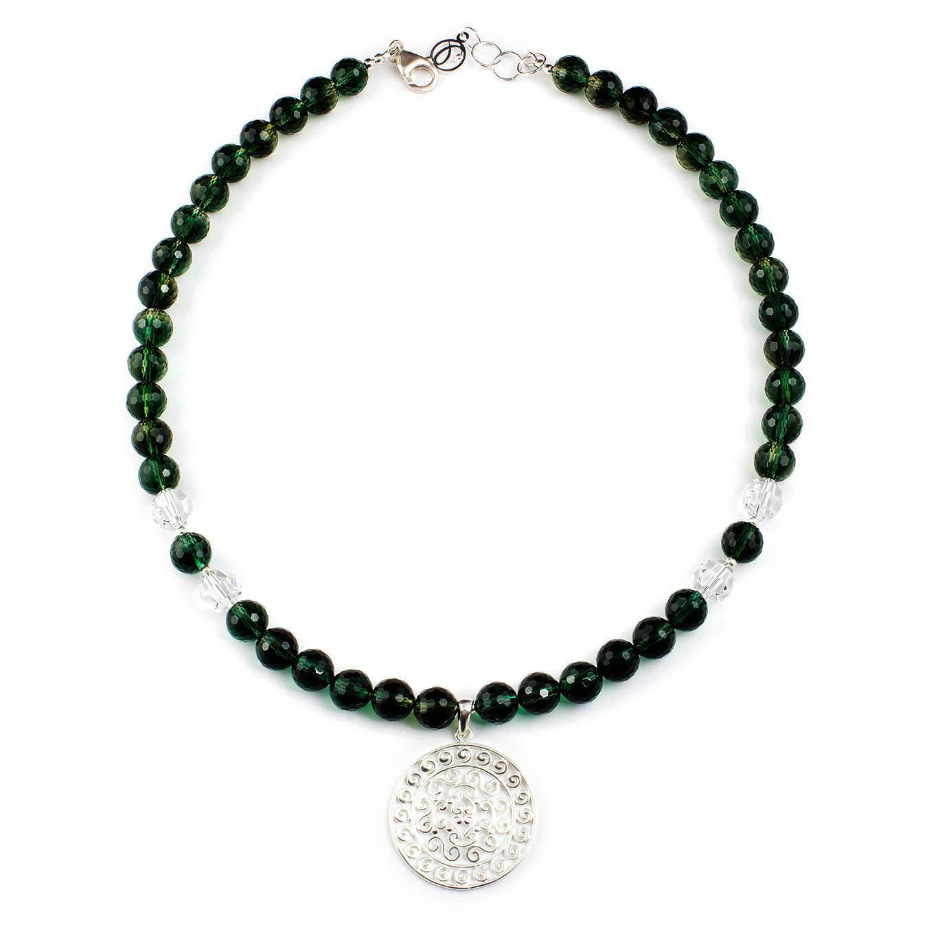 Beaded jewelry necklace with quartz, Swarovski and silver pendant
