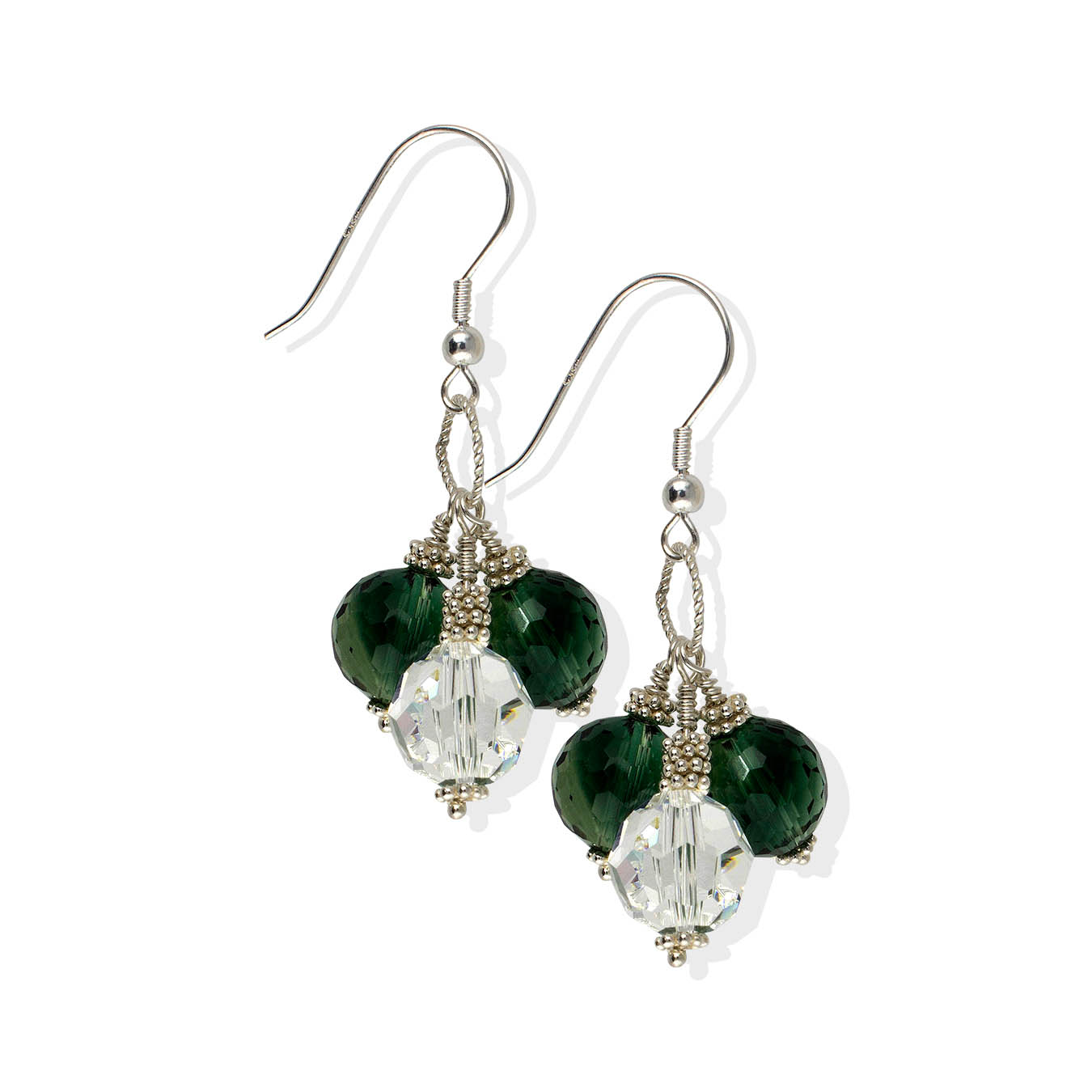Handmade jewelry necklace made of green quartz, swarovski and silver