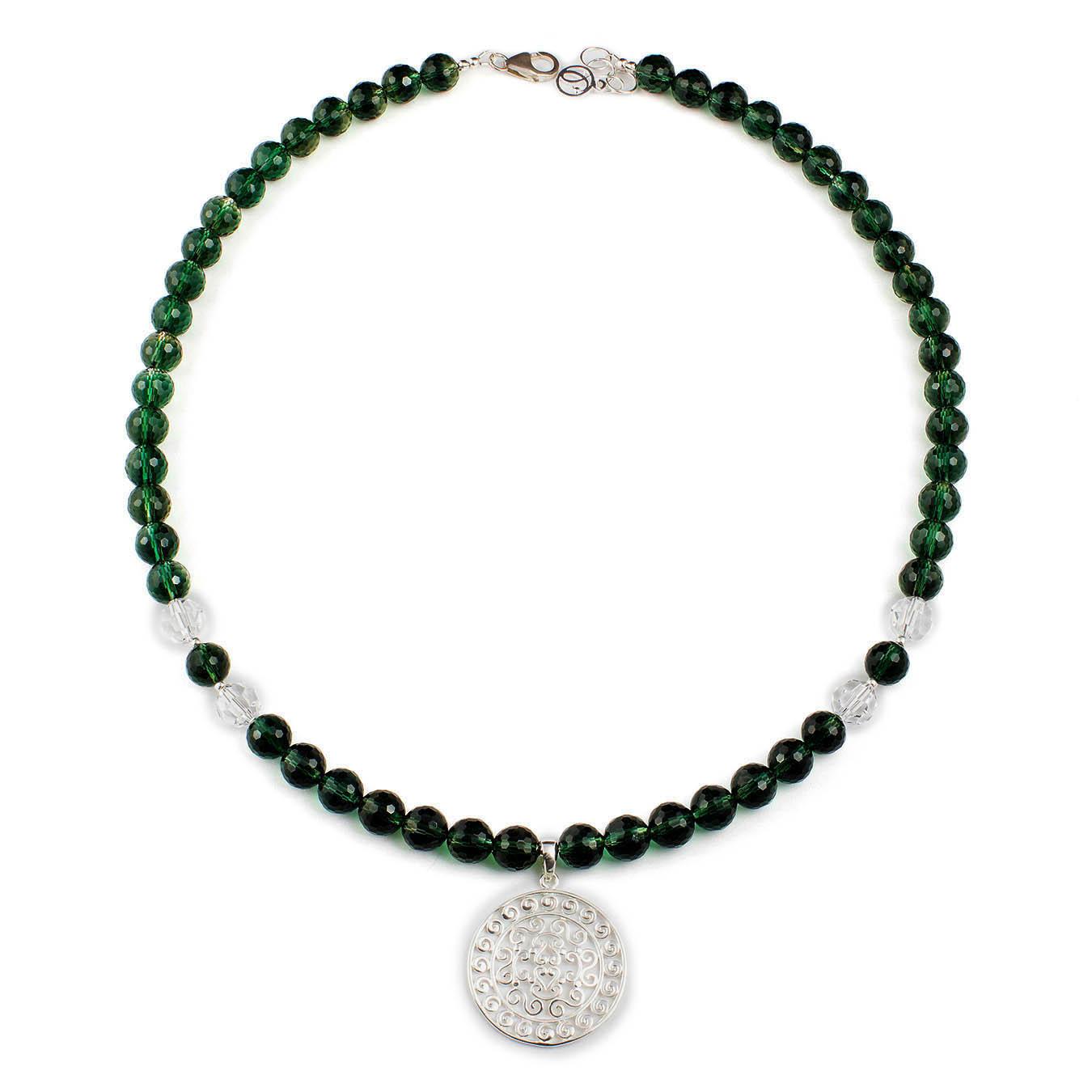 Handcrafted pendant necklace made swarovski and green quartz stones