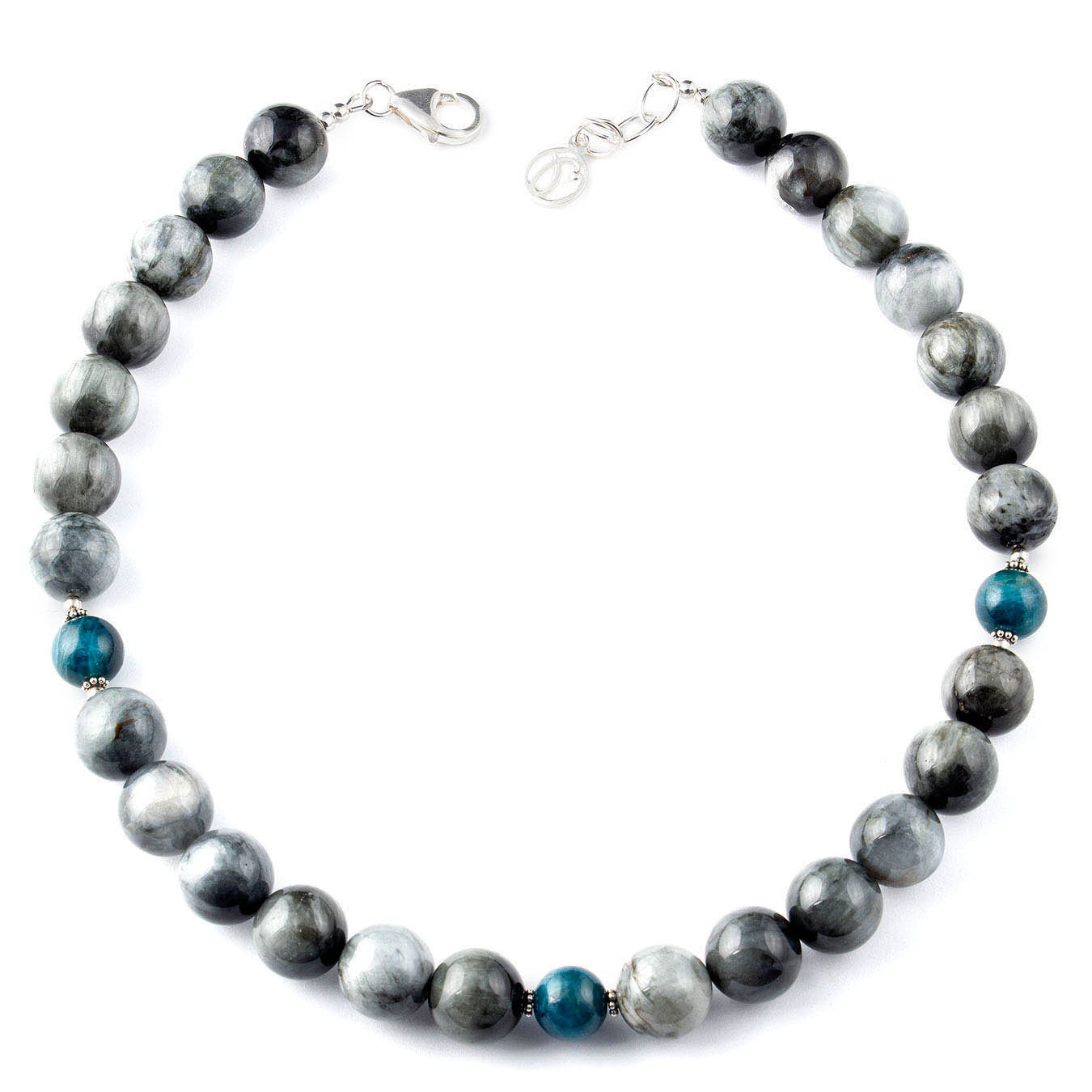 Station necklace set made with Hawkâ??s Eye and Apatite gemstones