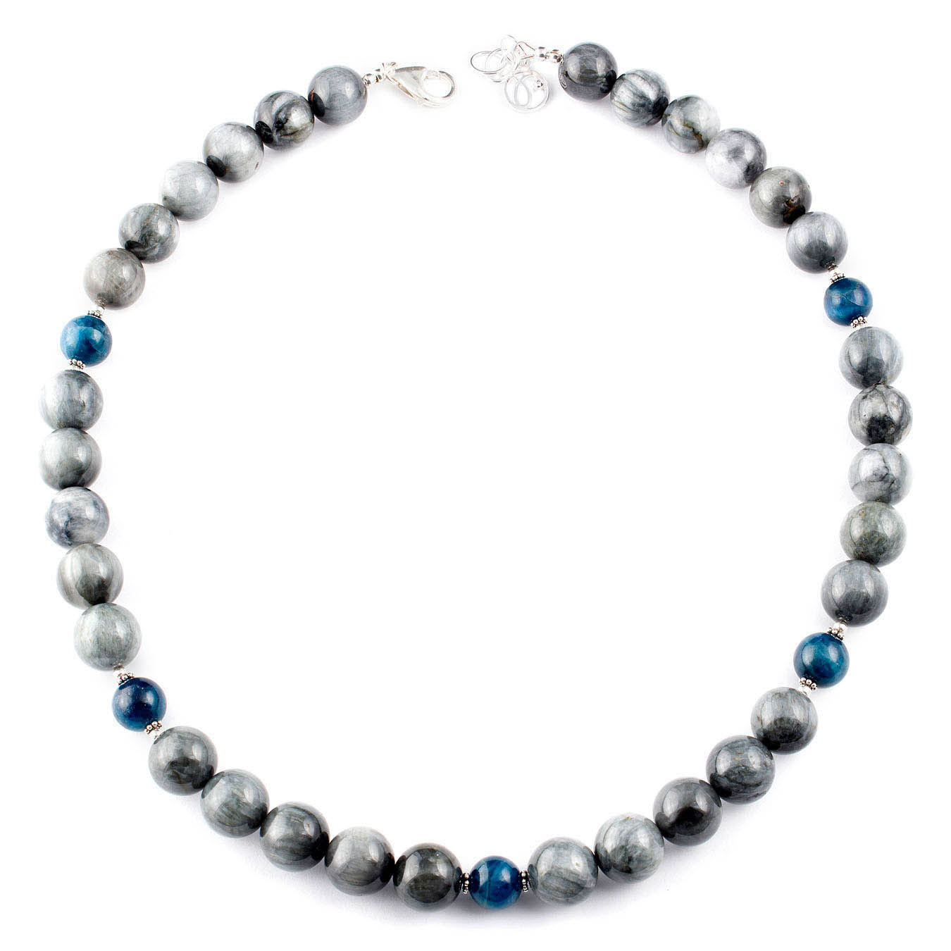 Beaded jewelry station necklace made with Hawkâ??s Eye and Apatite