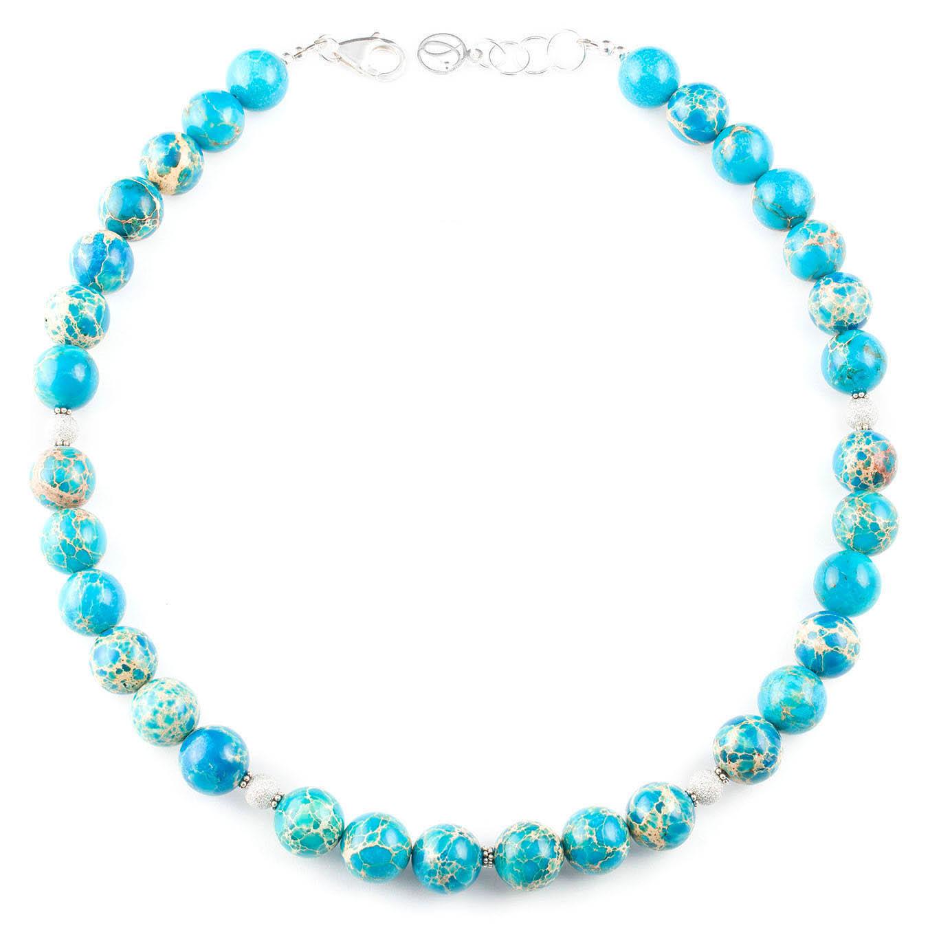 Semi-precious gemstones necklace set made of jasper and silver beads