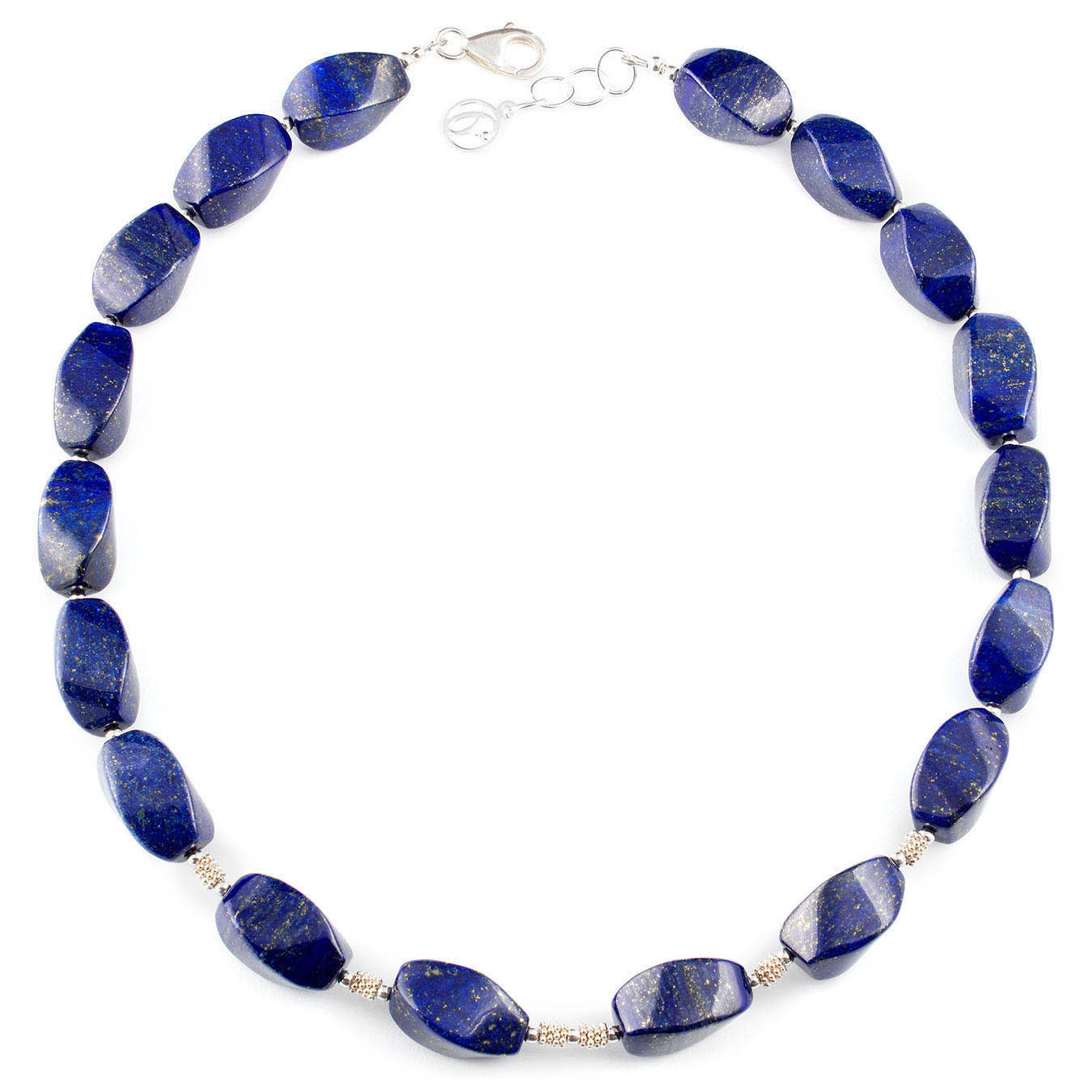 Gemstone necklace set made with twisted lapis lazuli and silver