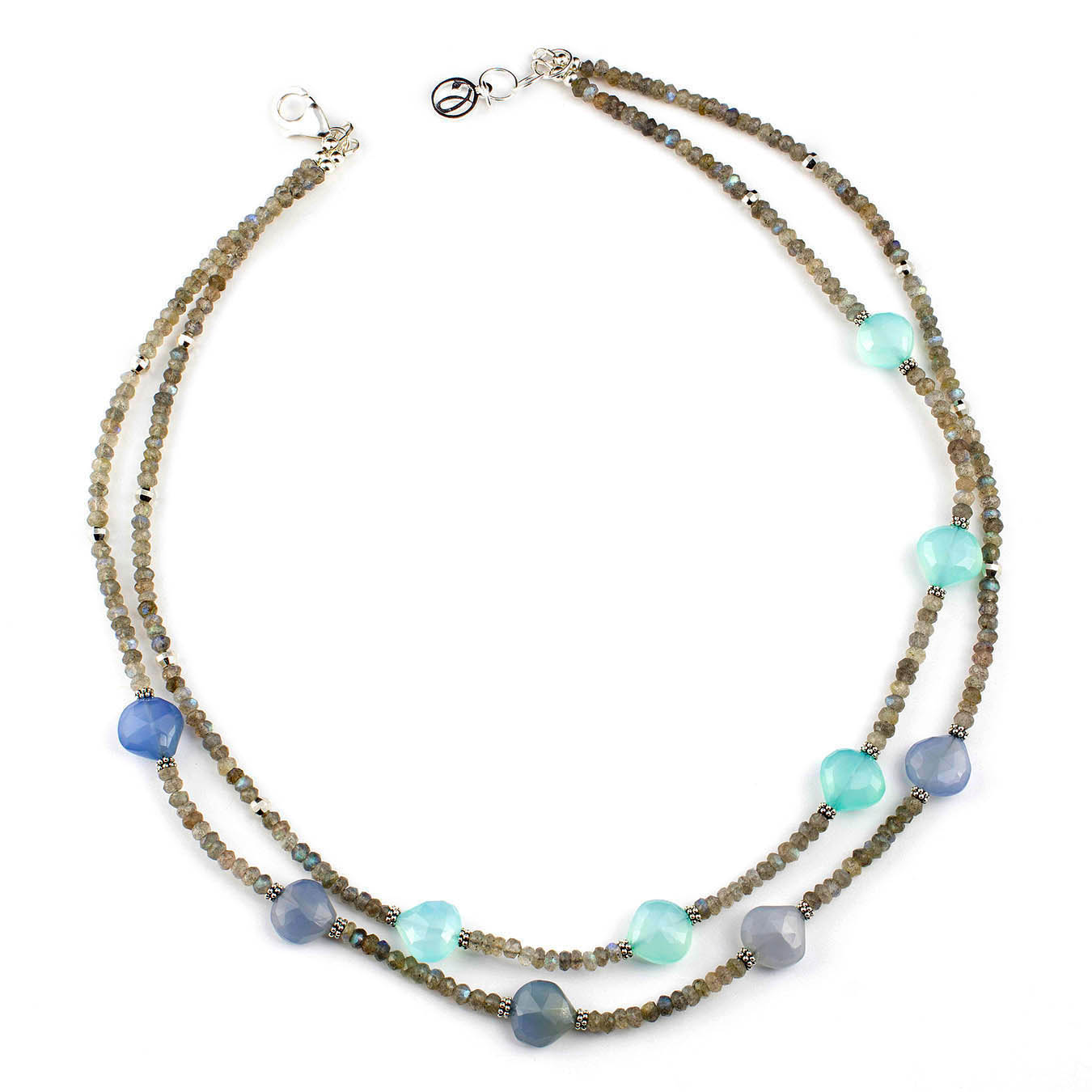 Artisan beaded jewelry made of labradorite and chalcedony gemstones