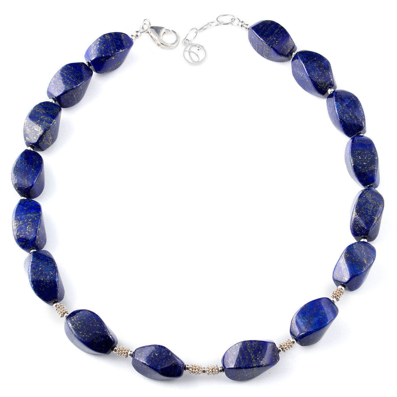 Handcrafted semi-precious bead jewelry made with twisted lapis lazuli