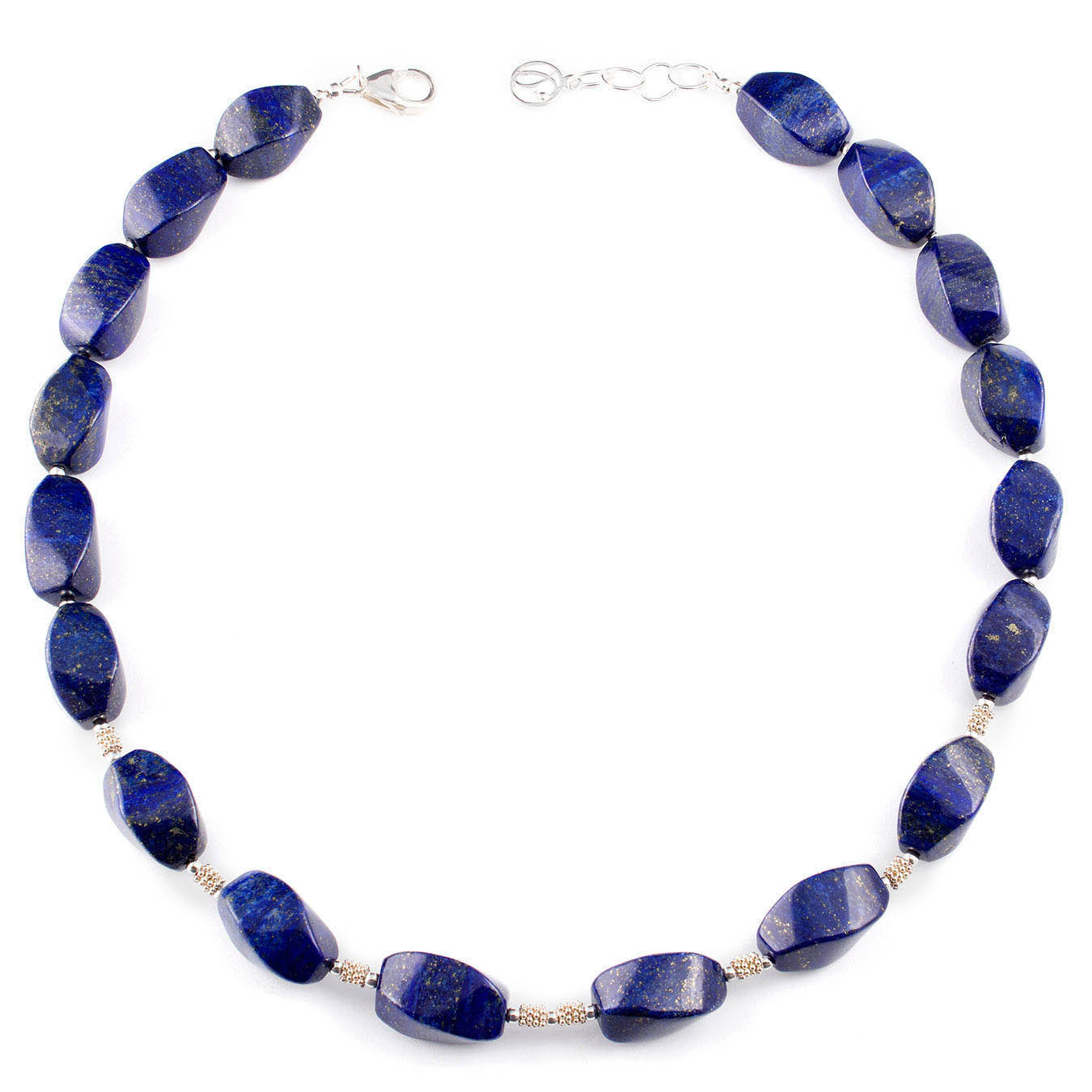 Beaded jewelry necklace made with lapis lazuli and silver accent