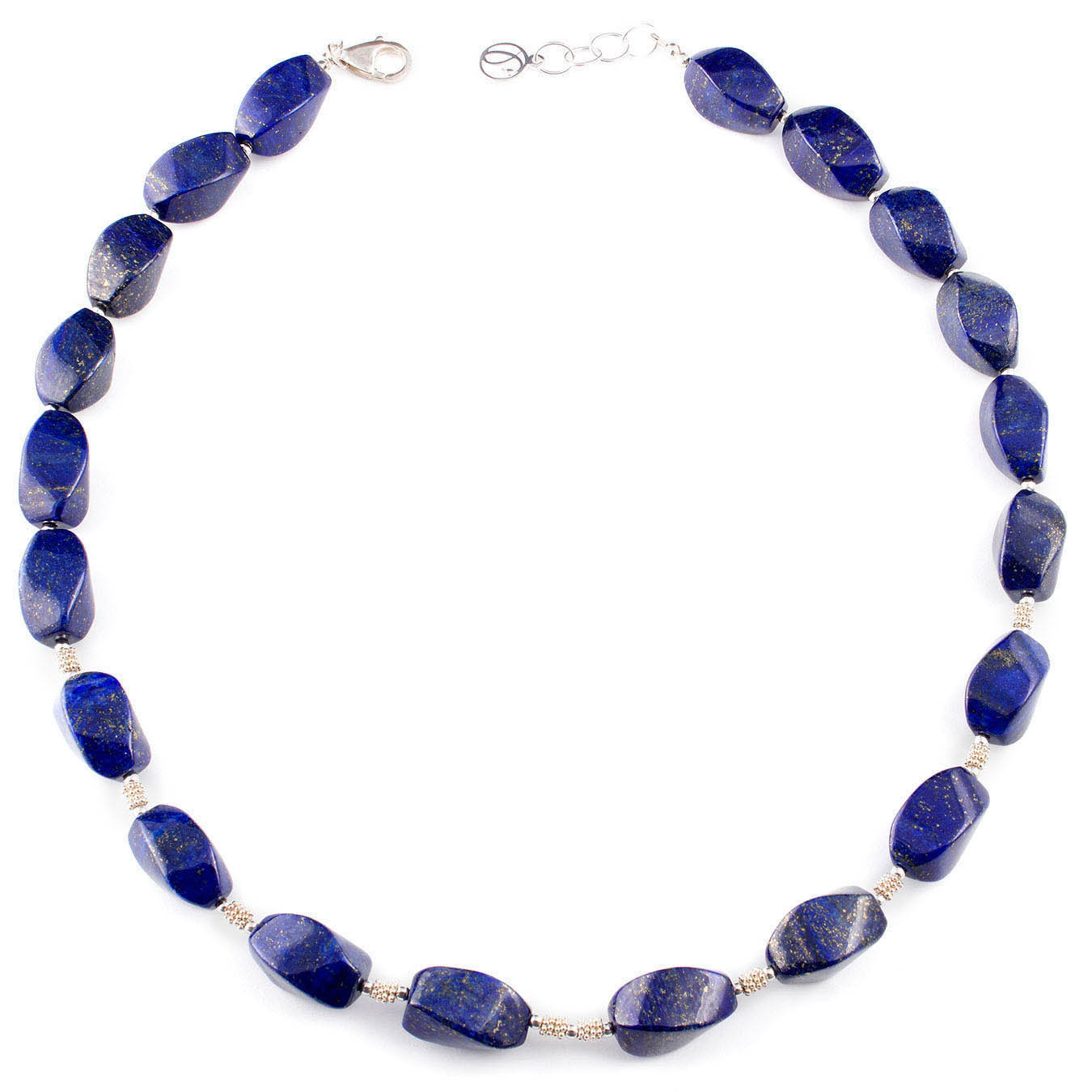 Handmade stone jewelry necklace made of lapis lazuli and silver beads