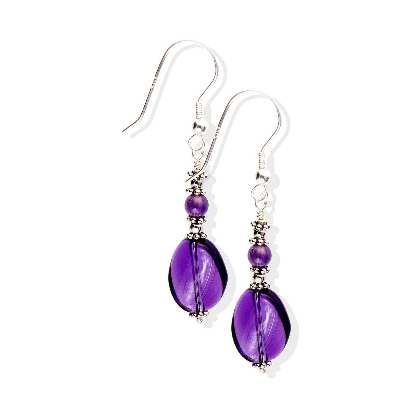 Handcrafted february birthstone bead jewelry made of twisted amethyst