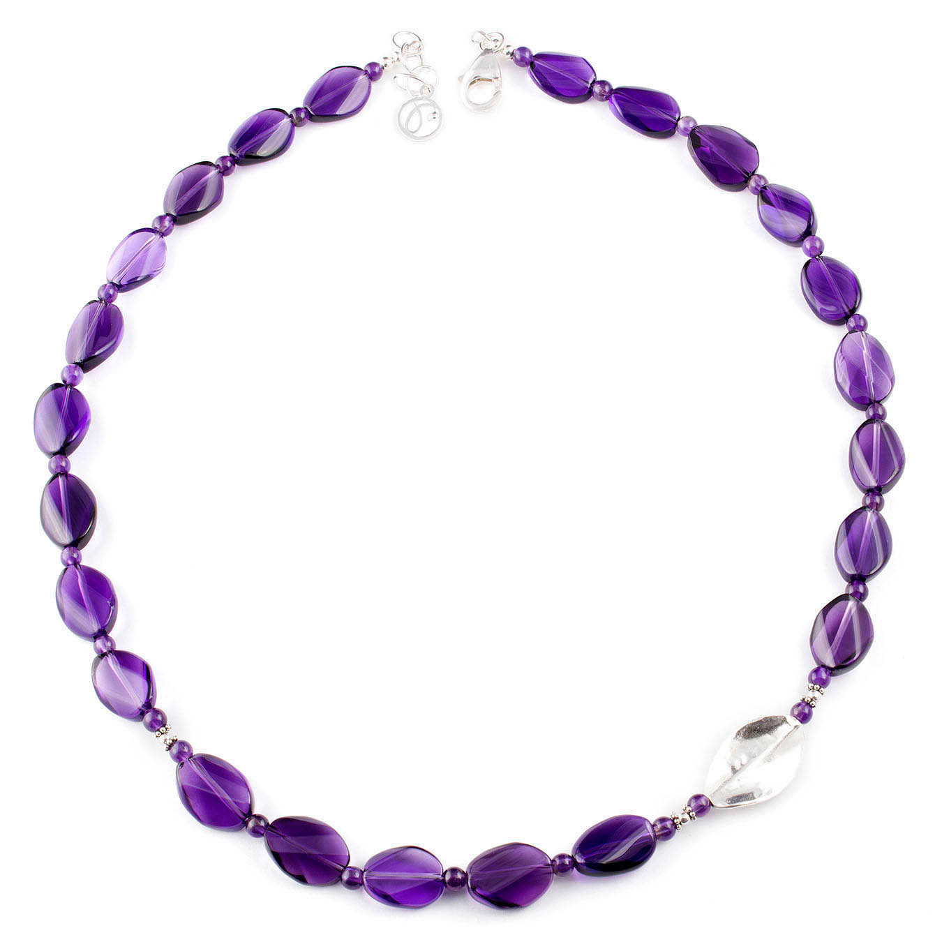 Amethyst and thai silver beaded jewelry birthstone necklace set