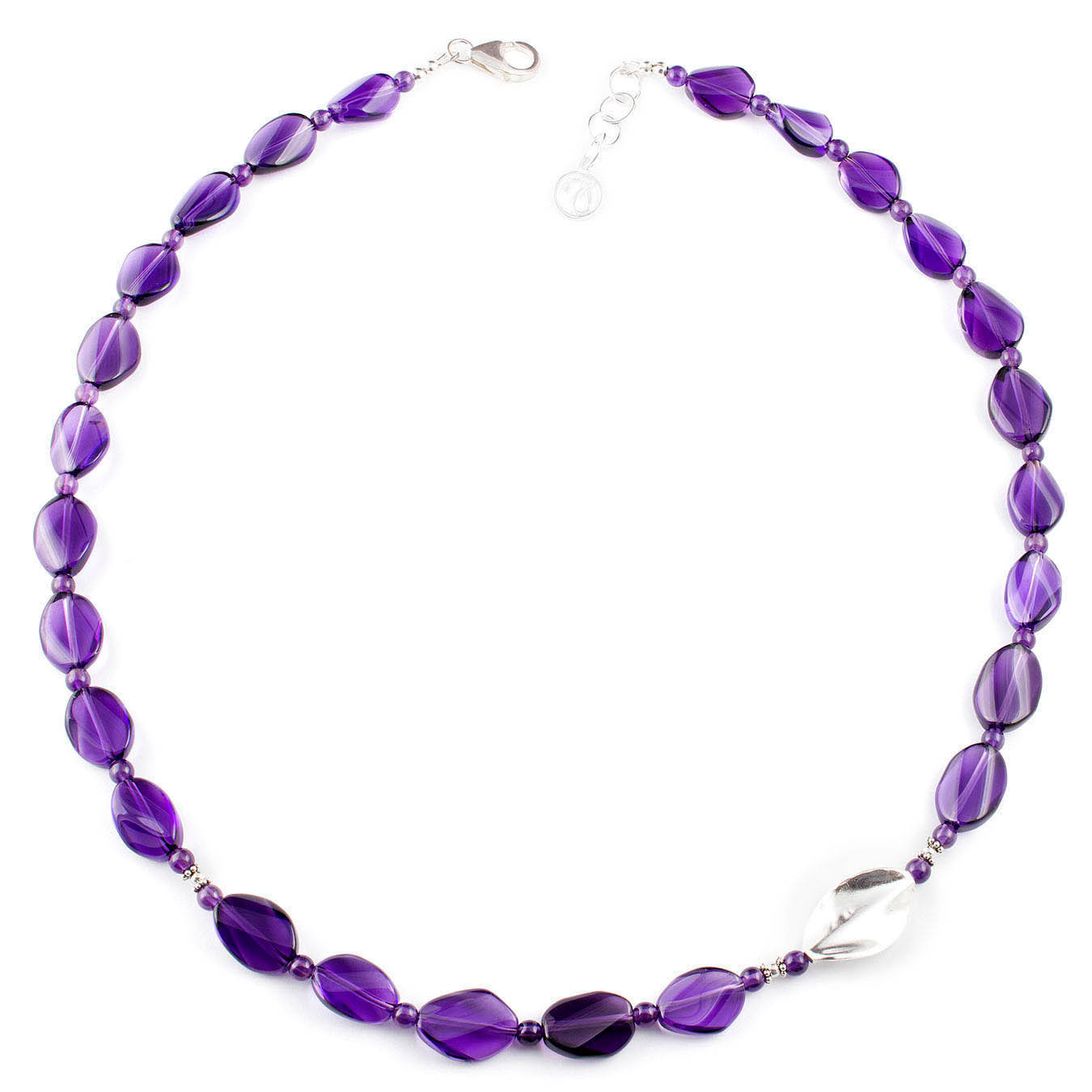Handmade jewelry necklace made of amethyst and twisted thai silver