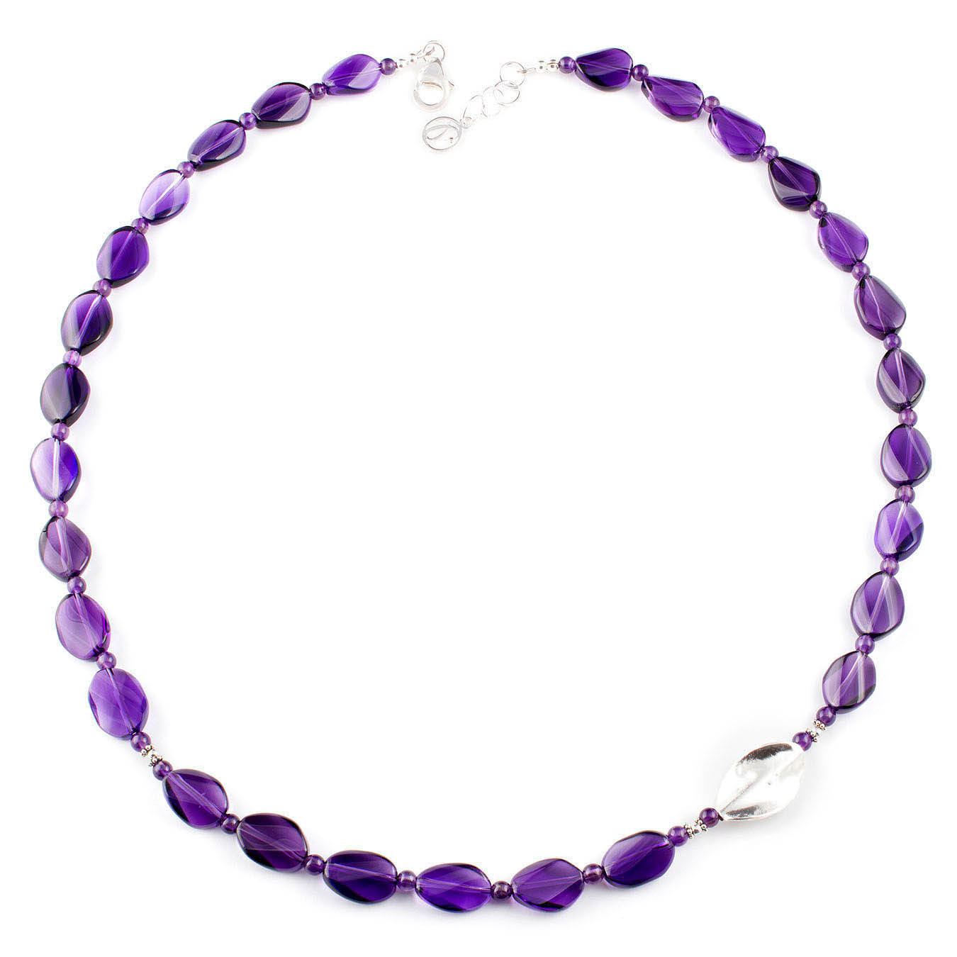 Handcrafted necklace made with purple amethyst stones and thai silver