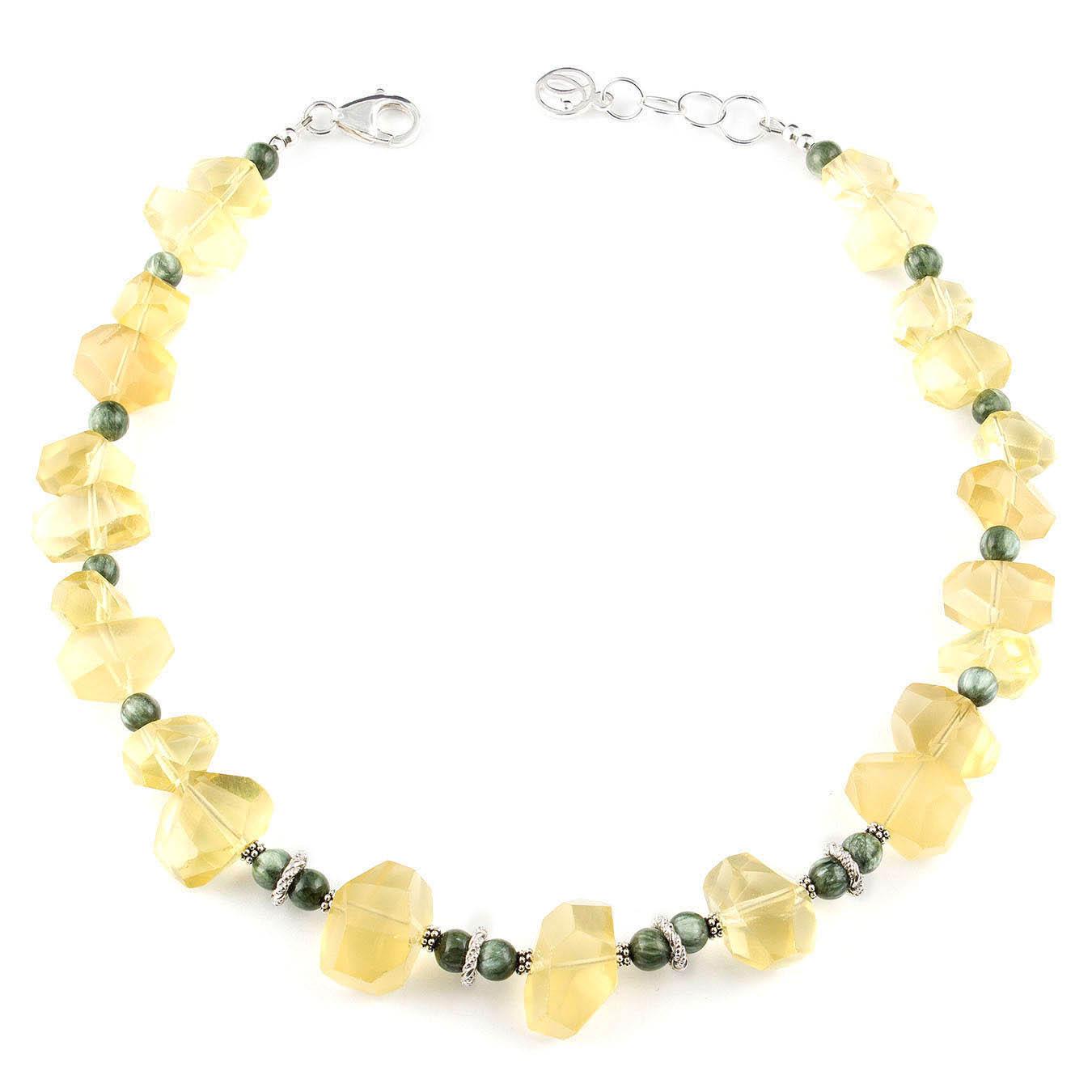 Statement bead jewelry made with natural lemon quartz and seraphinite
