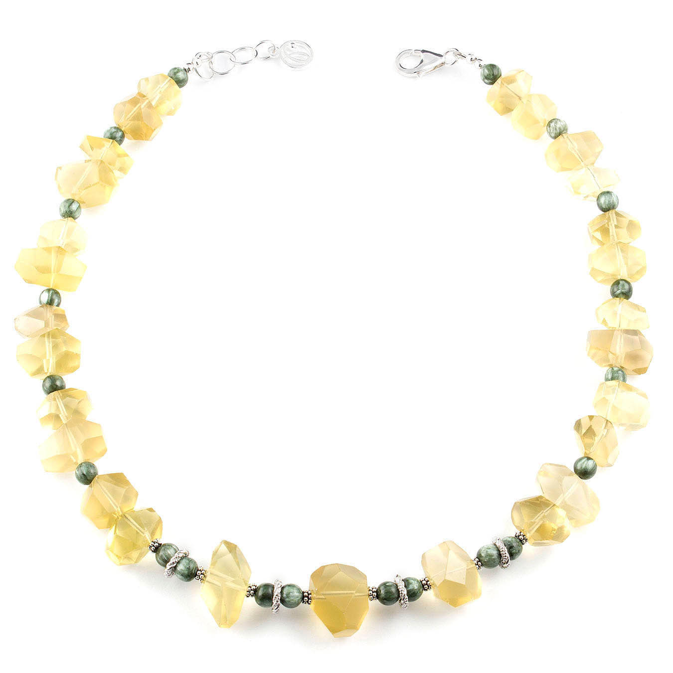 Statement necklace set artisan made with lemon quartz and seraphinite