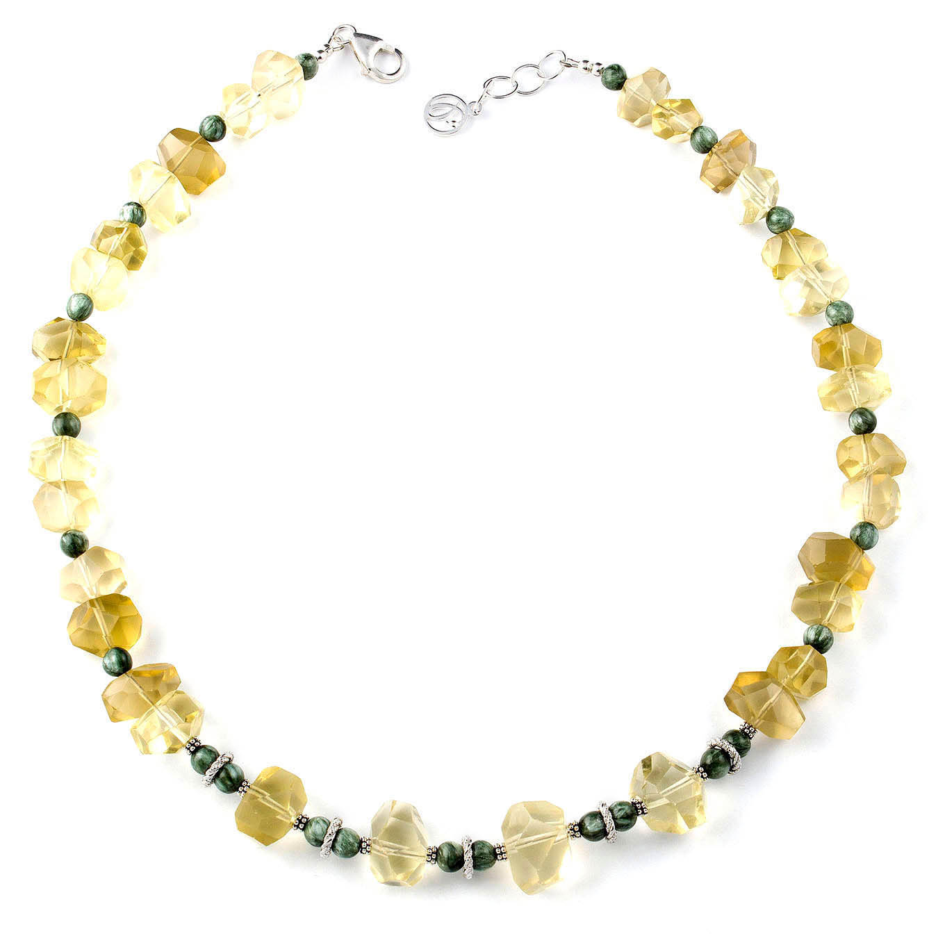 Statement beaded jewelry necklace made of lemon quartz and seraphinite